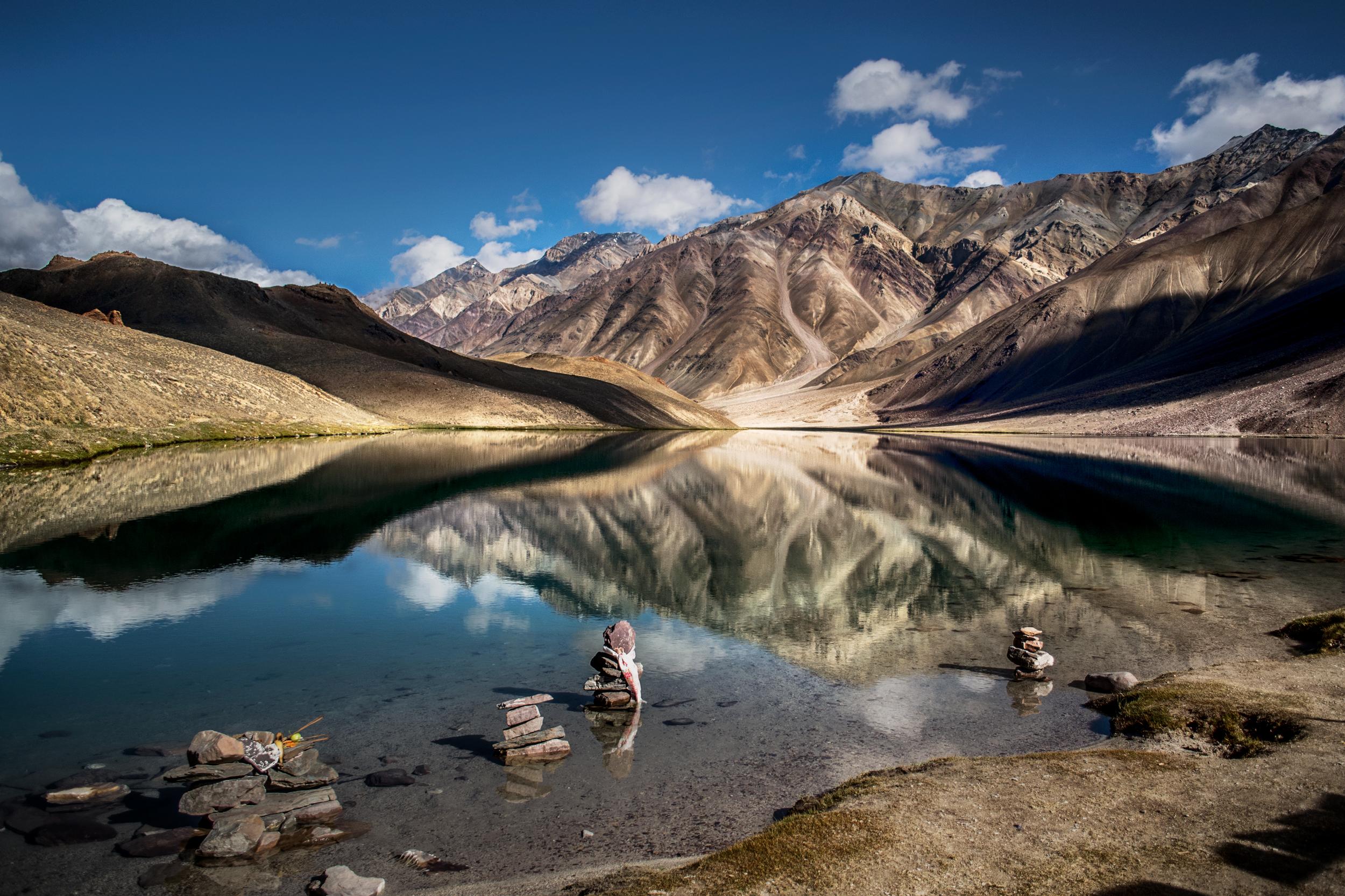 Reflection of mountains on Chandratal Lake