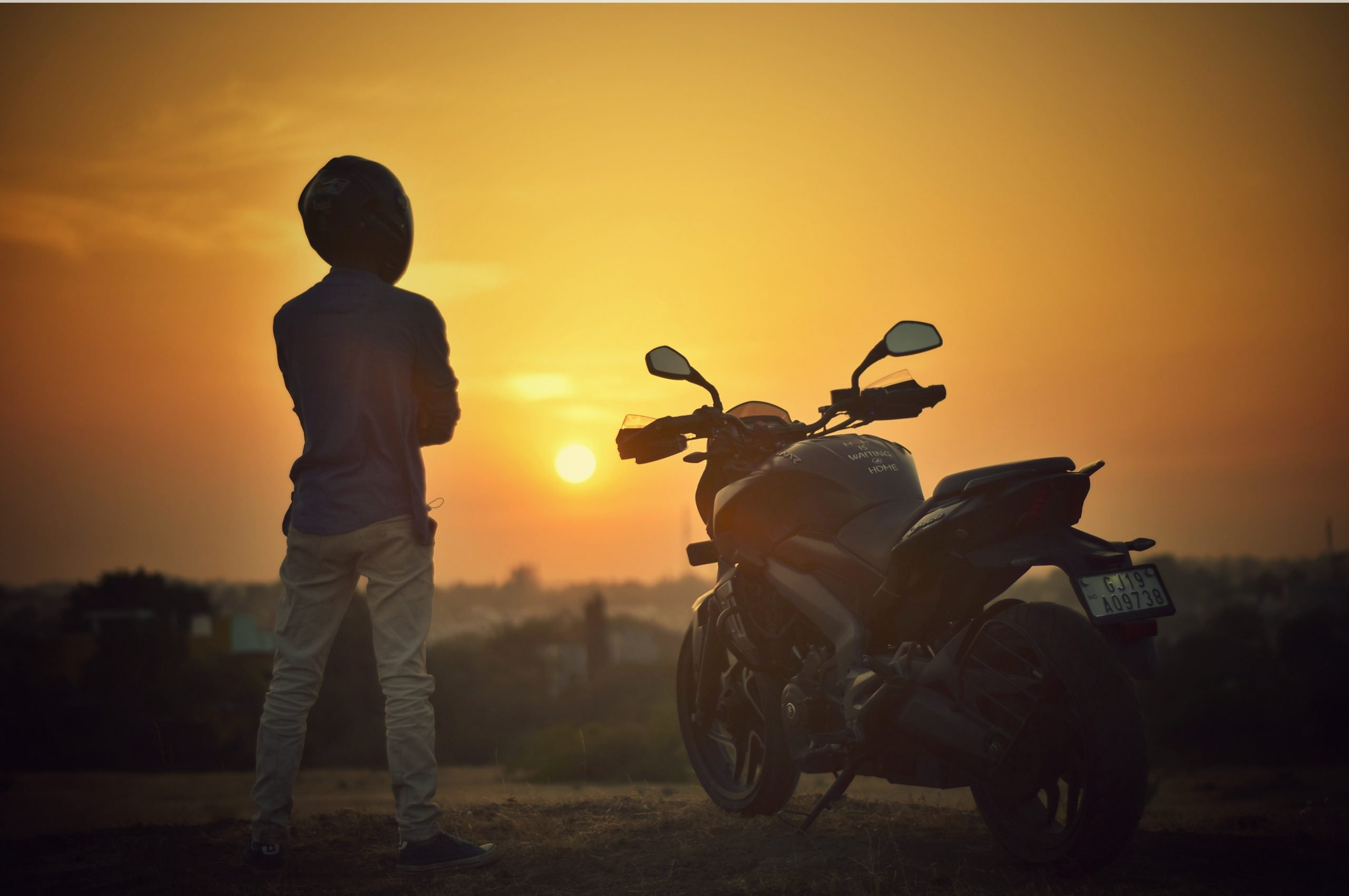 Rider and his Motorbike in the Sunset