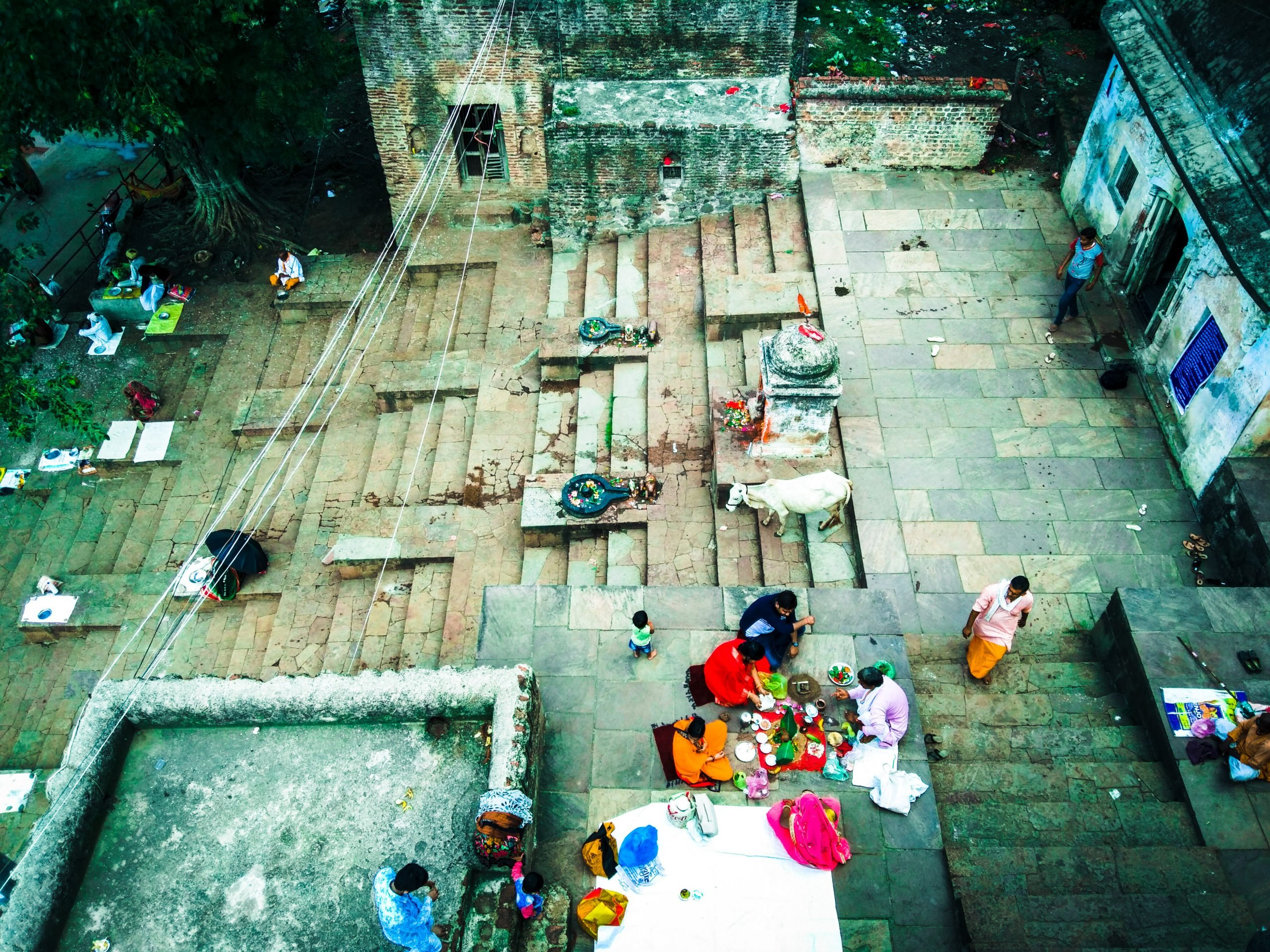 Ritual prayer at a Ghat in India