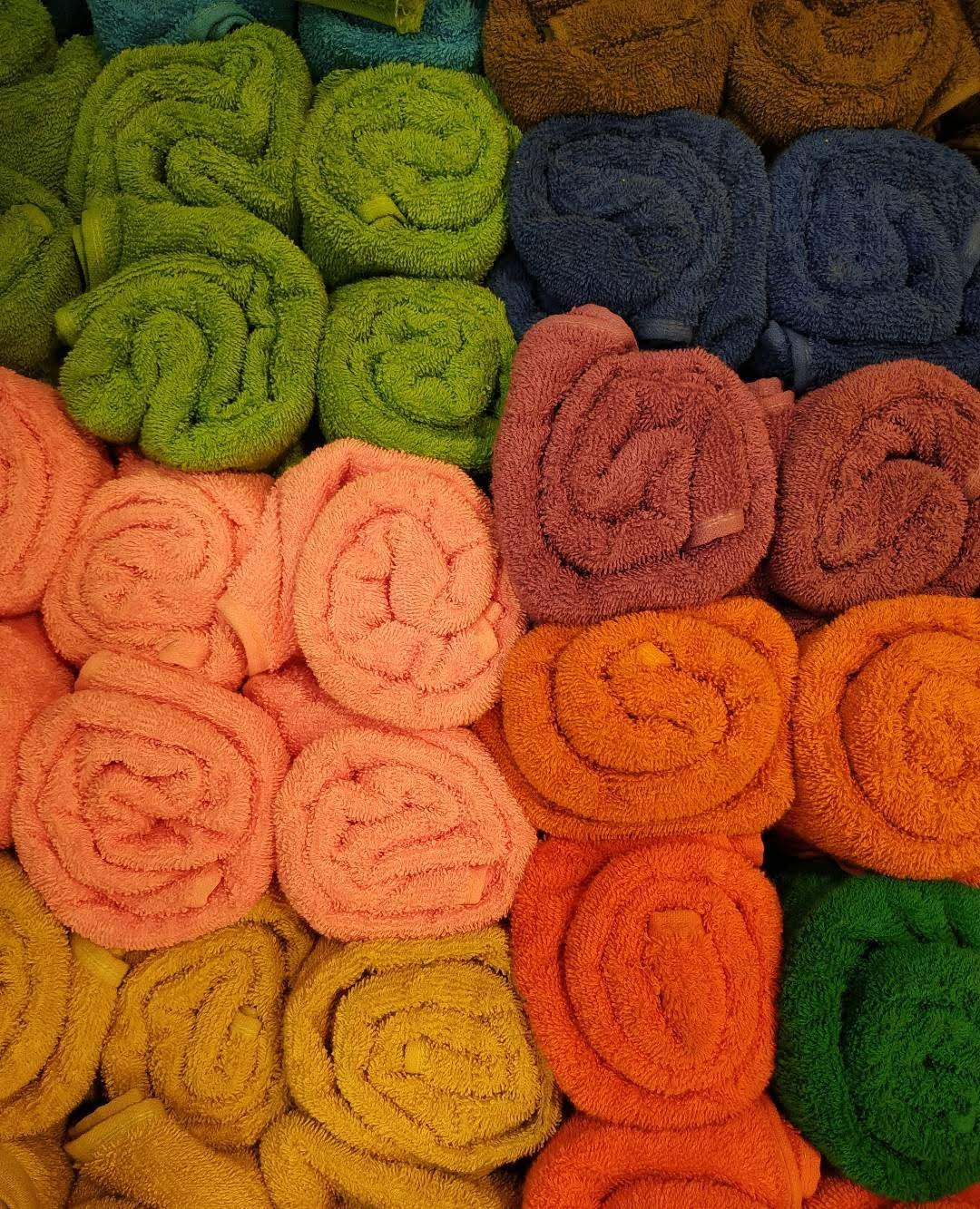 Rolled up multicolored towels