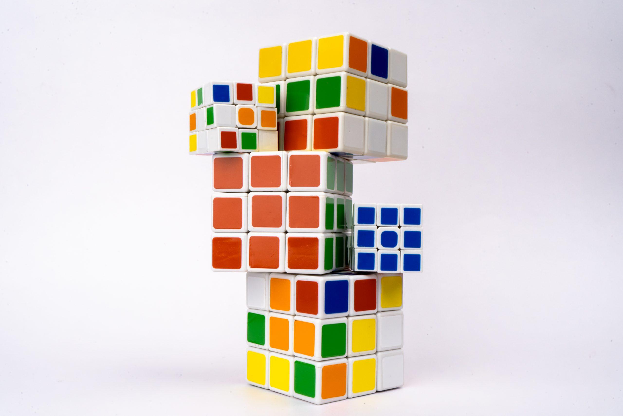 Rubik cubes on white background