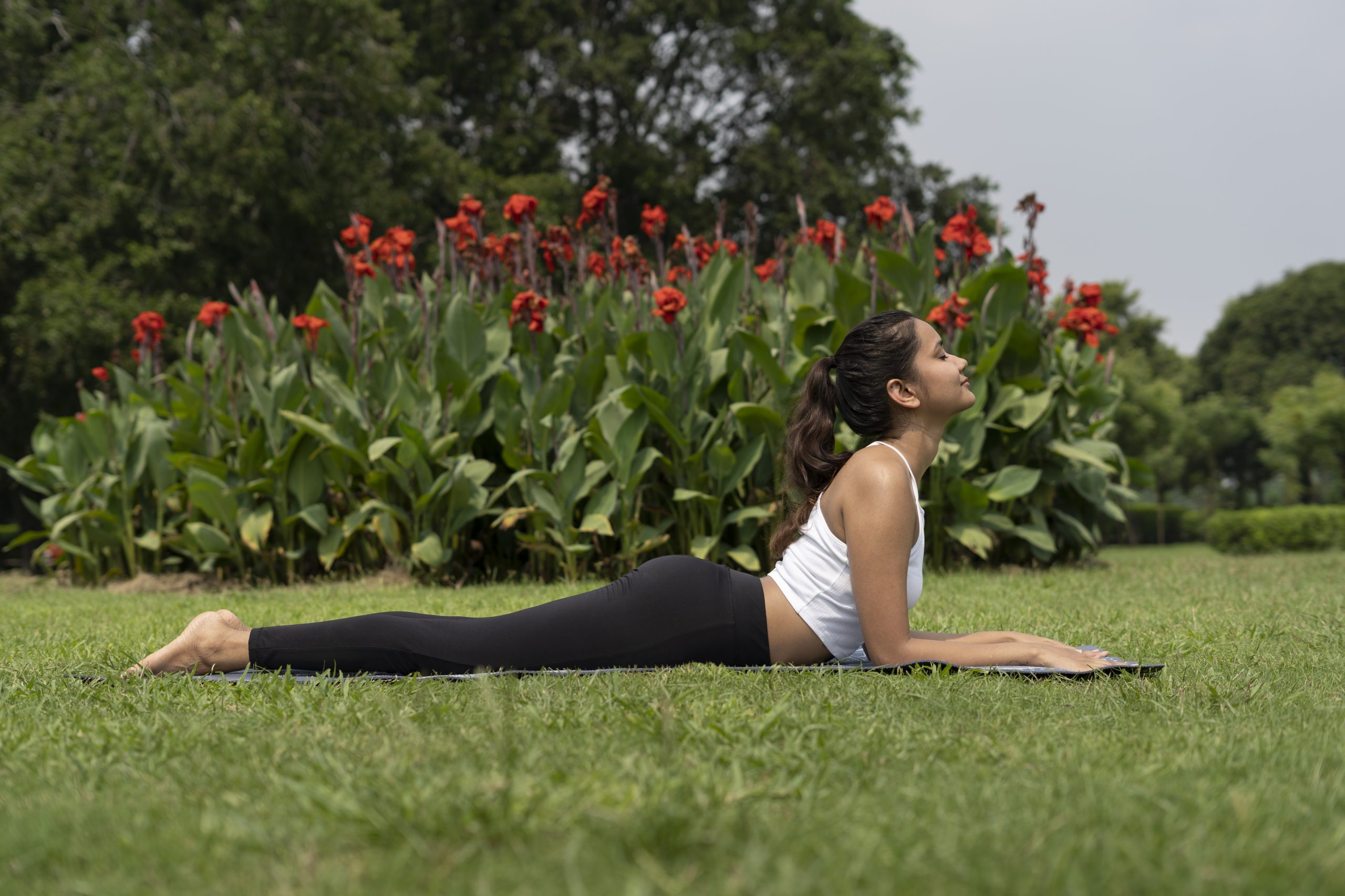 A girl working out in the garden