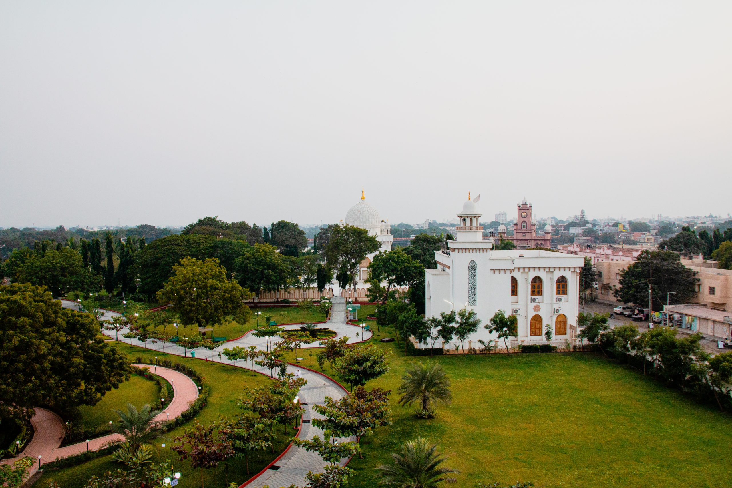 a scenic view of a palace