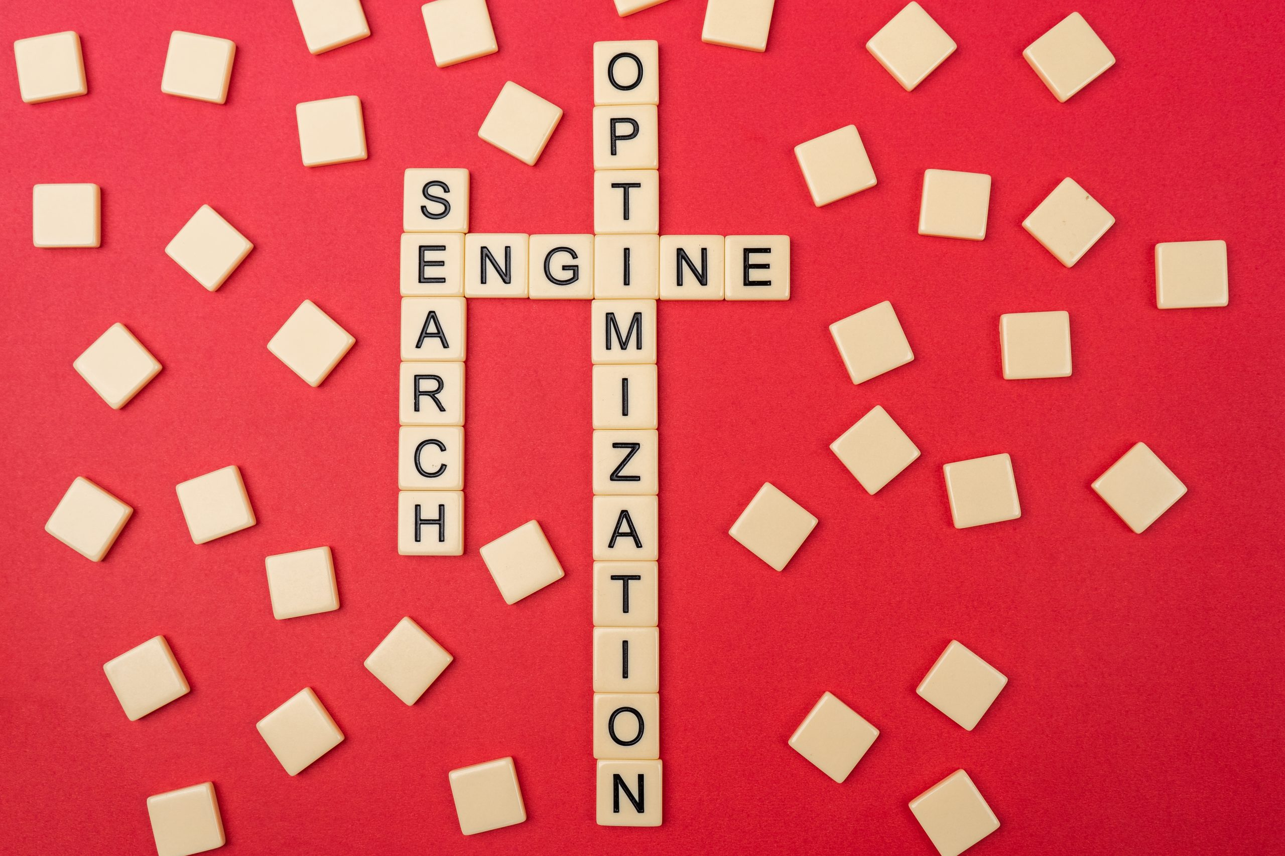 Search engine optimization written on scrabble