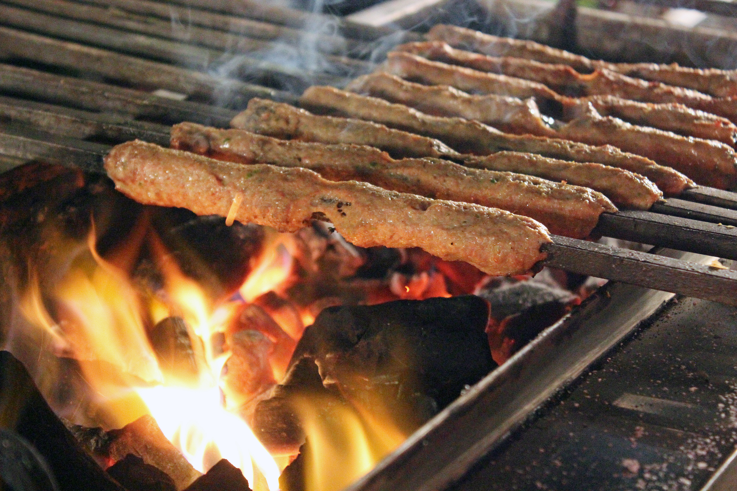 Sheekh kabab on charcoal grill