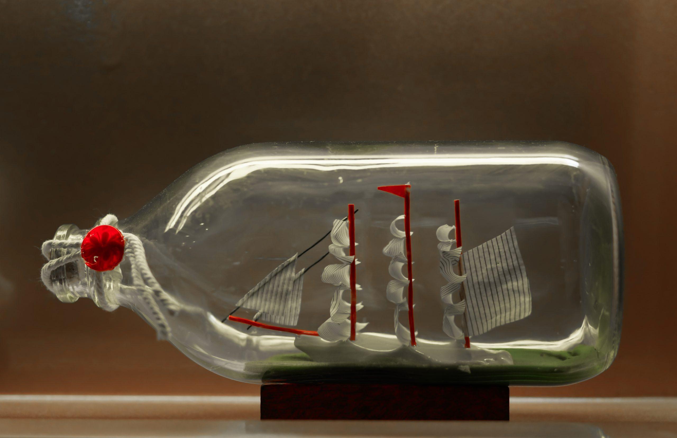 A replica of a ship inside a bottle