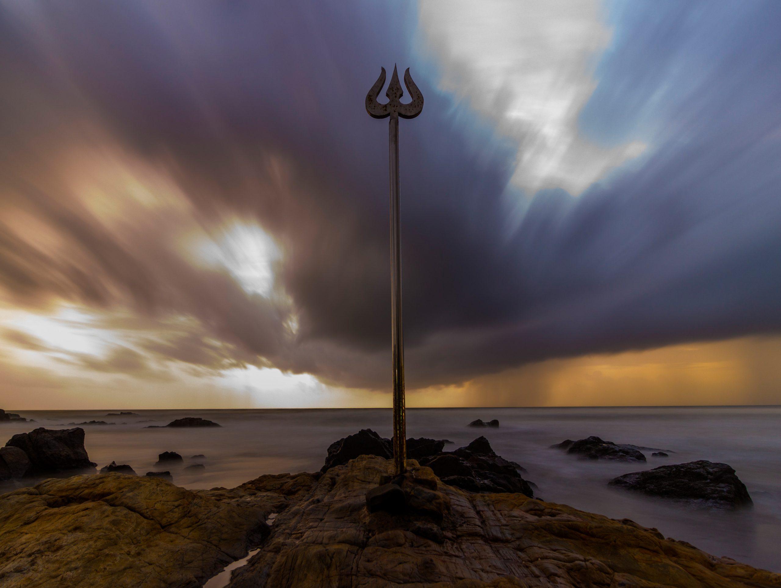 Shiva Trident on a rock