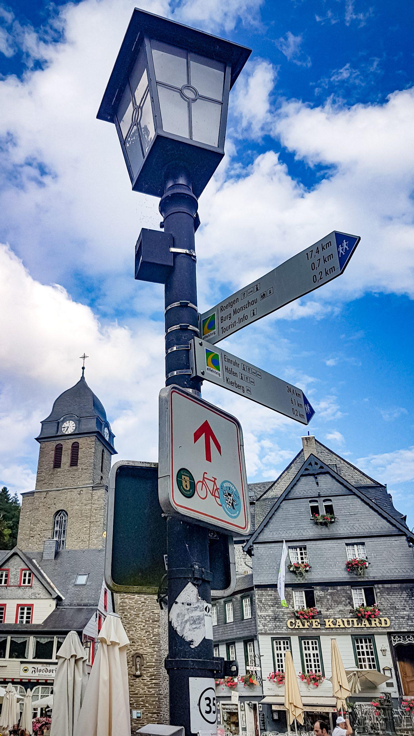 Signpost in German town