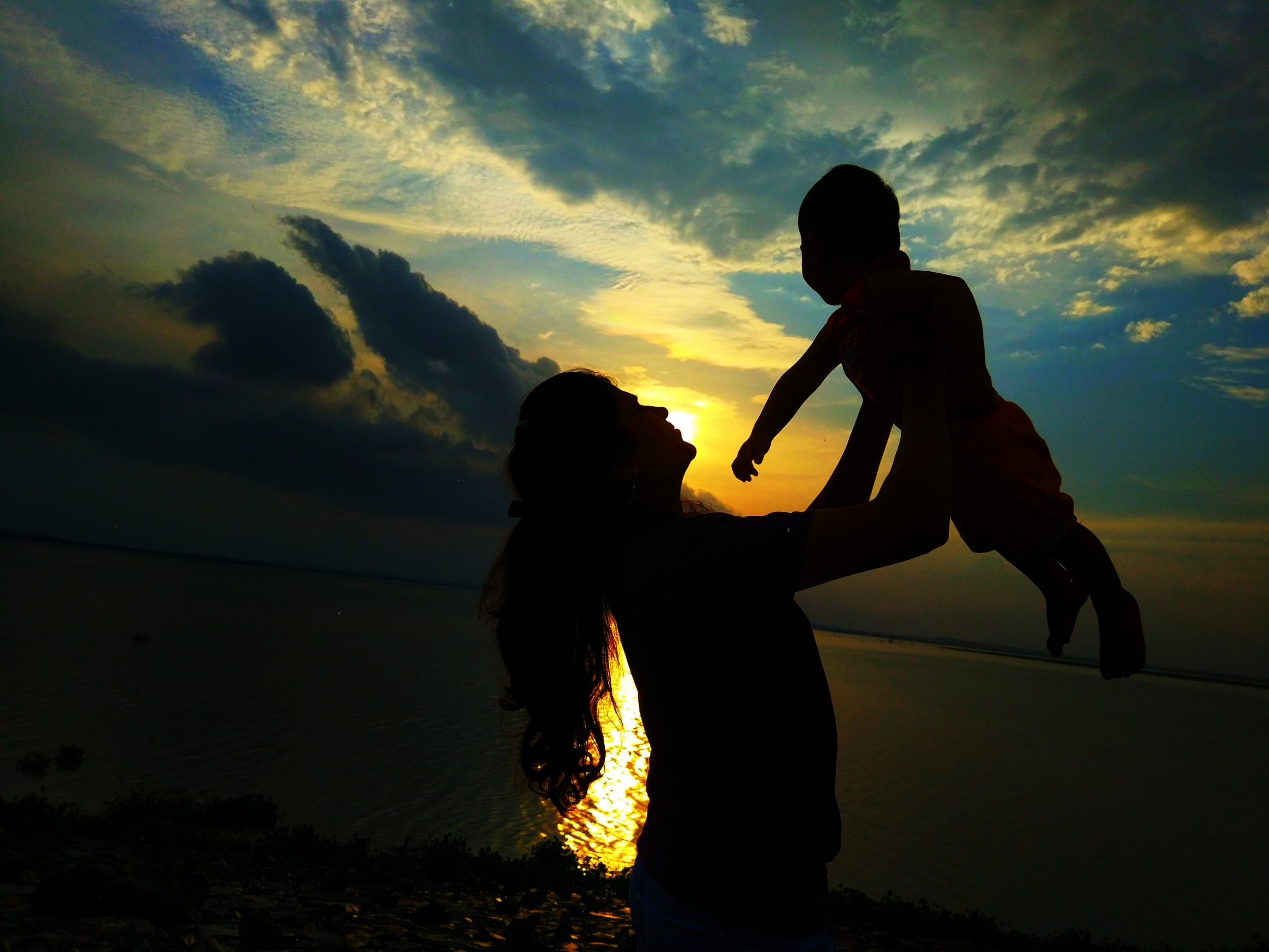Silhouette Mother and Kid