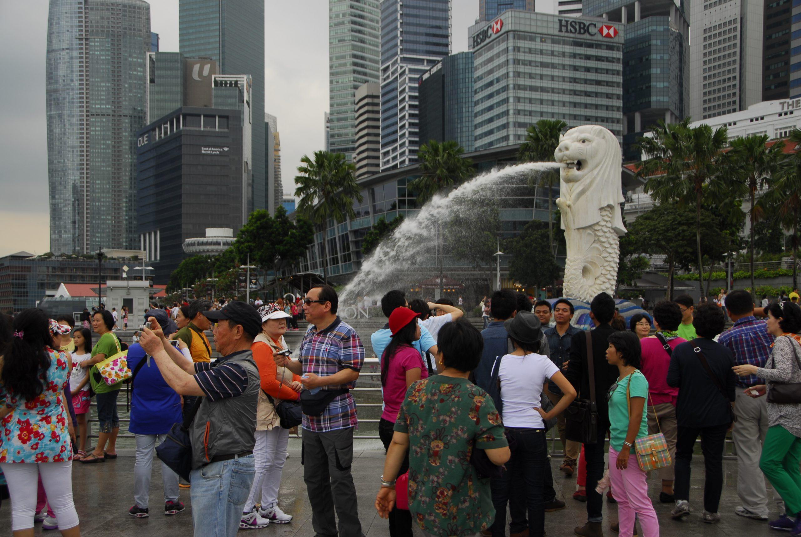 Tourists enjoying in Singapore