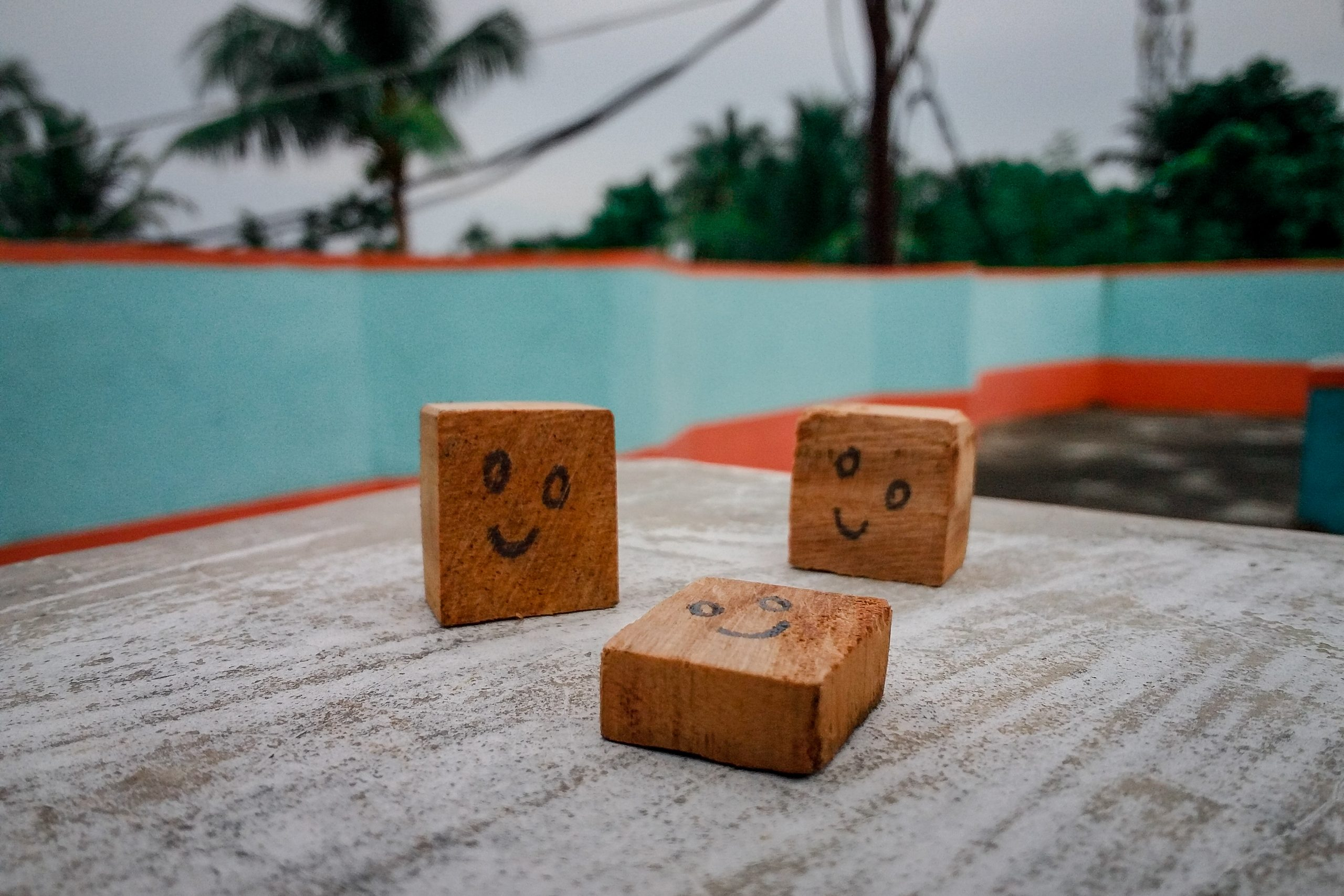 Smile drawn on wooden objects