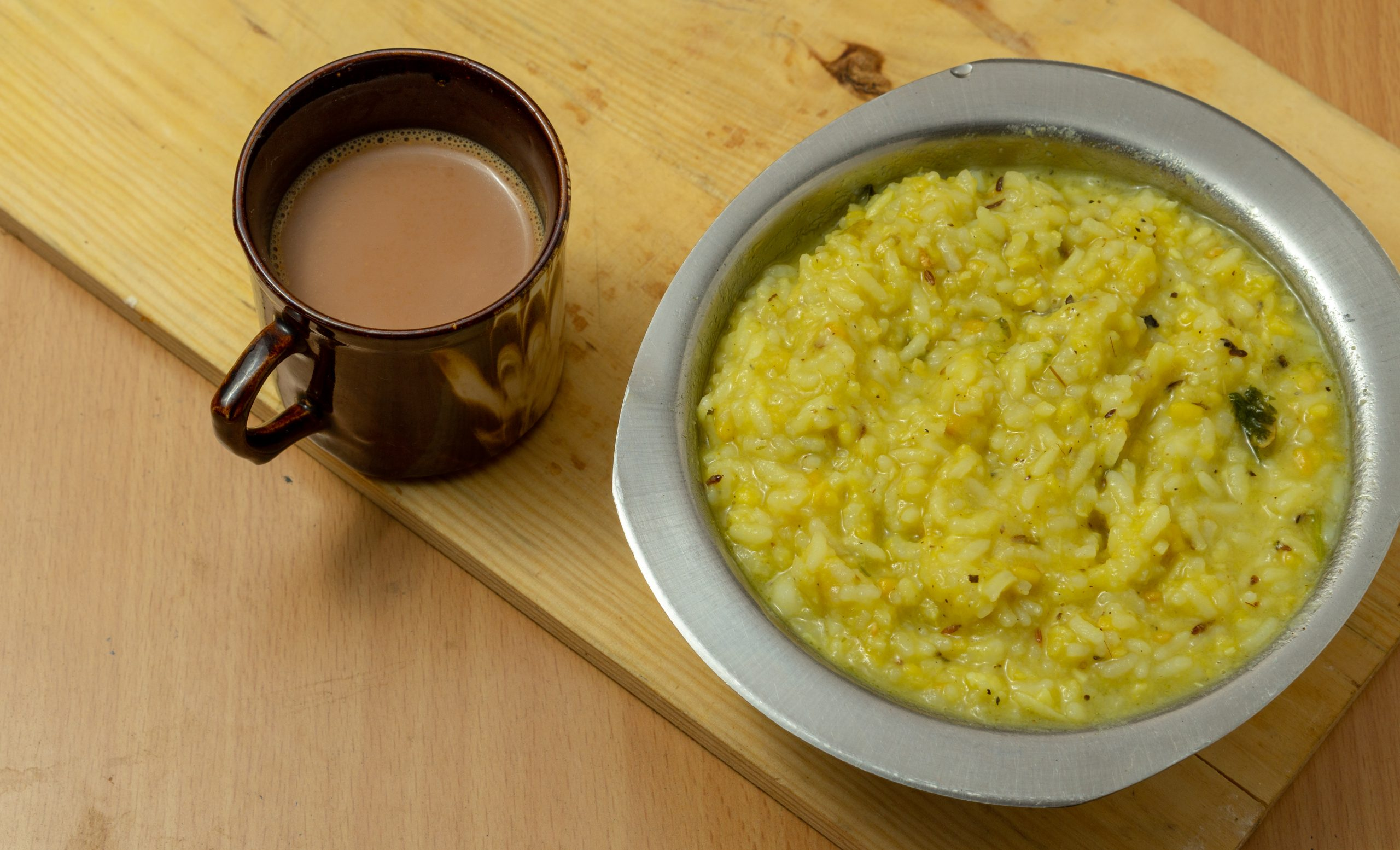 South Indian breakfast Pongal with coffee