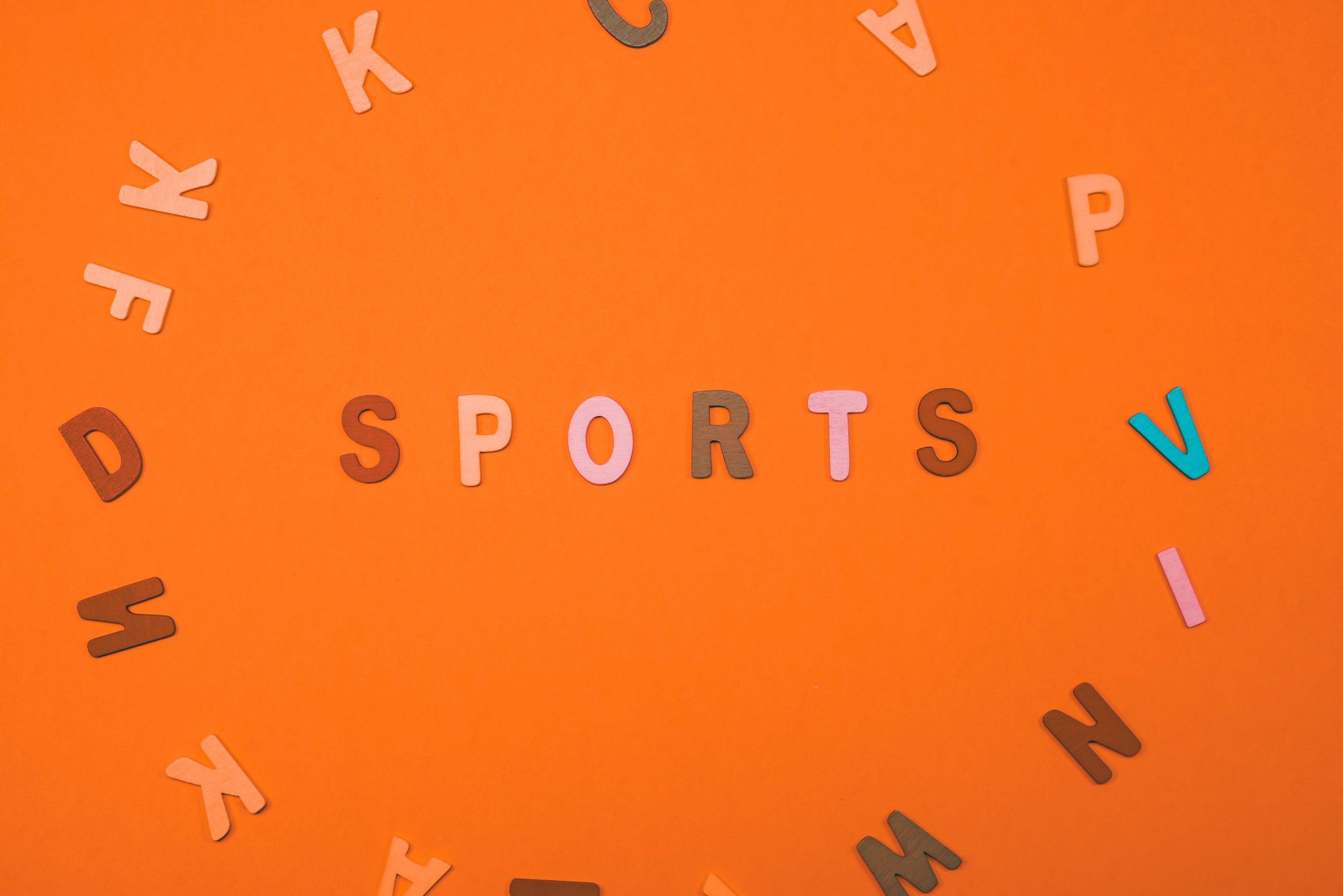 Sports written on scrabble