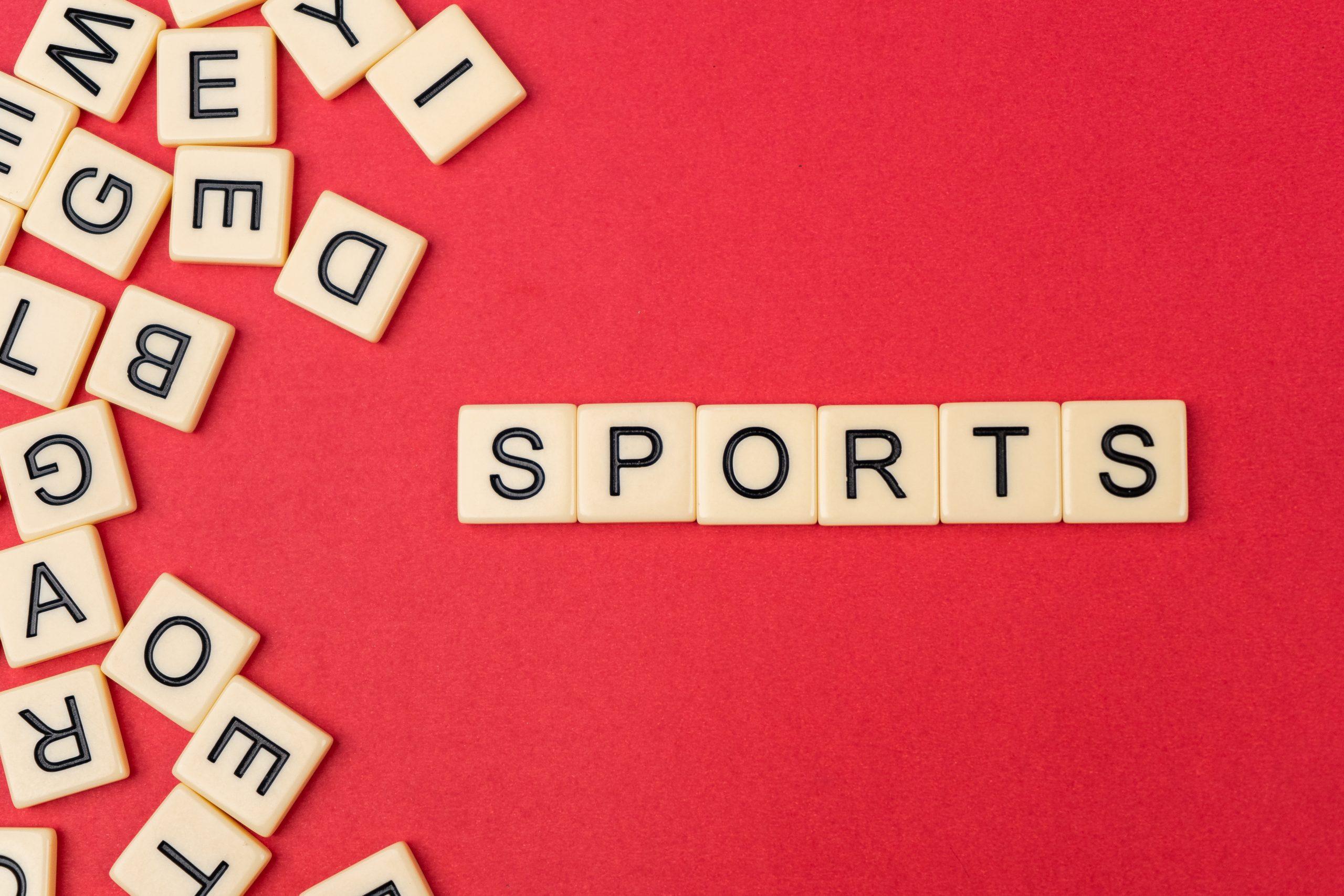 Sports written with scrabble