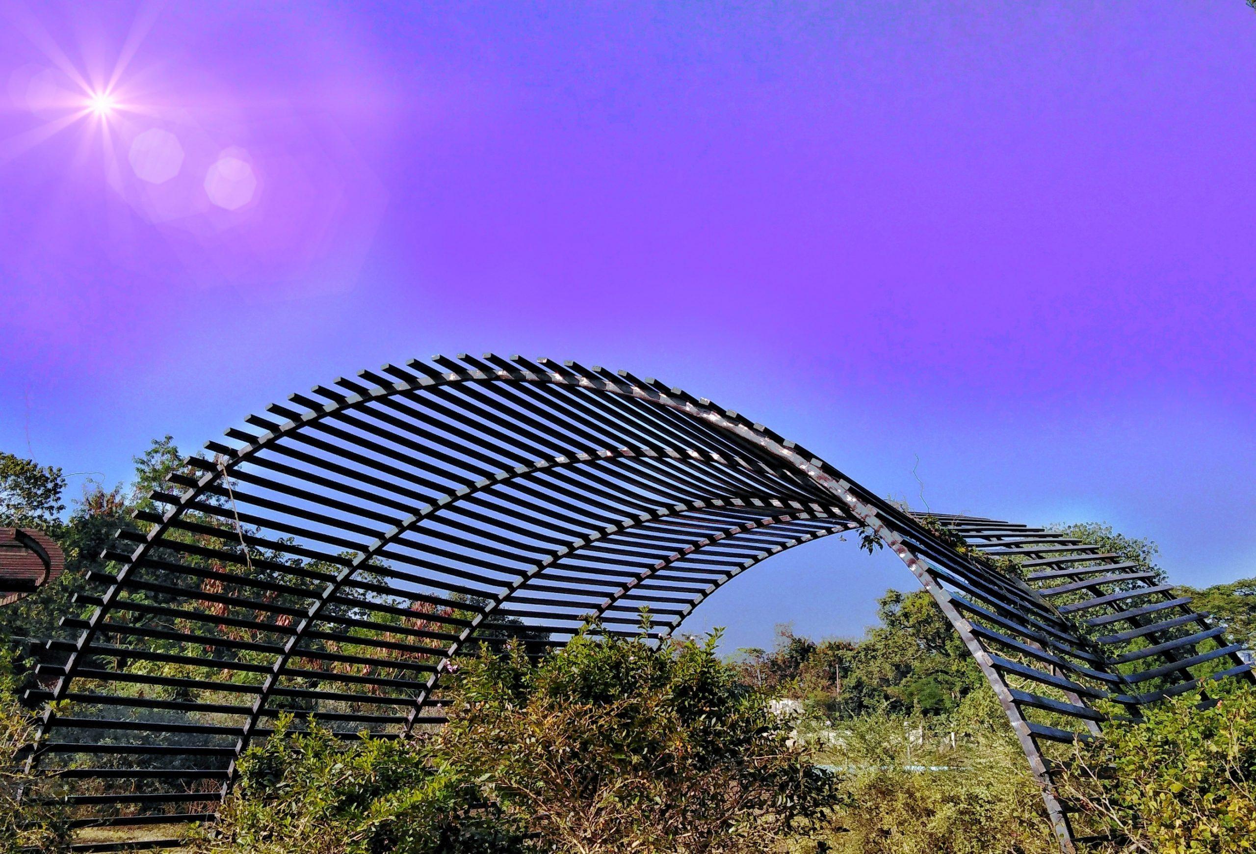 Steel pavilion in a park