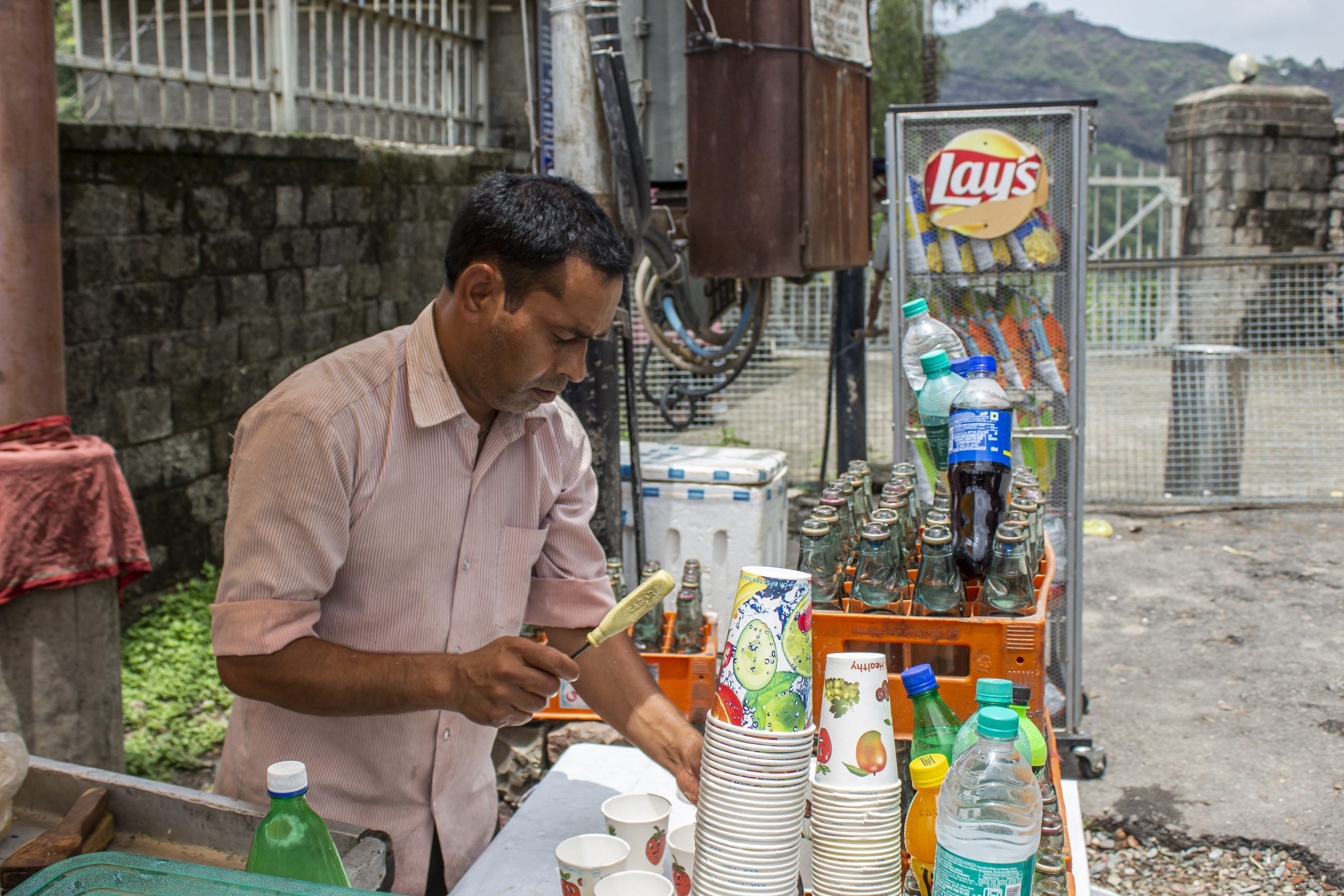 Street vendor selling beverage