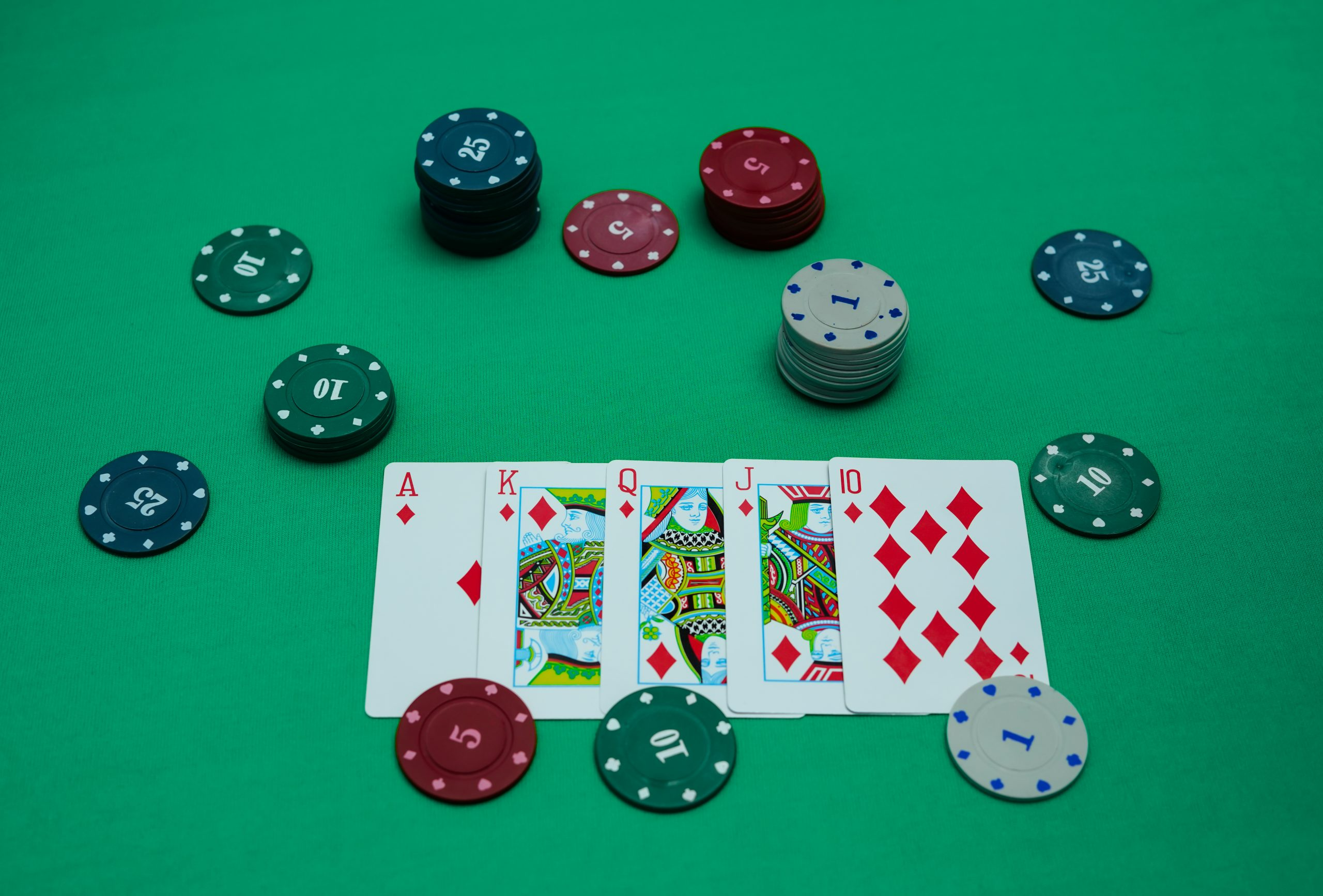 Stud poker chips and cards