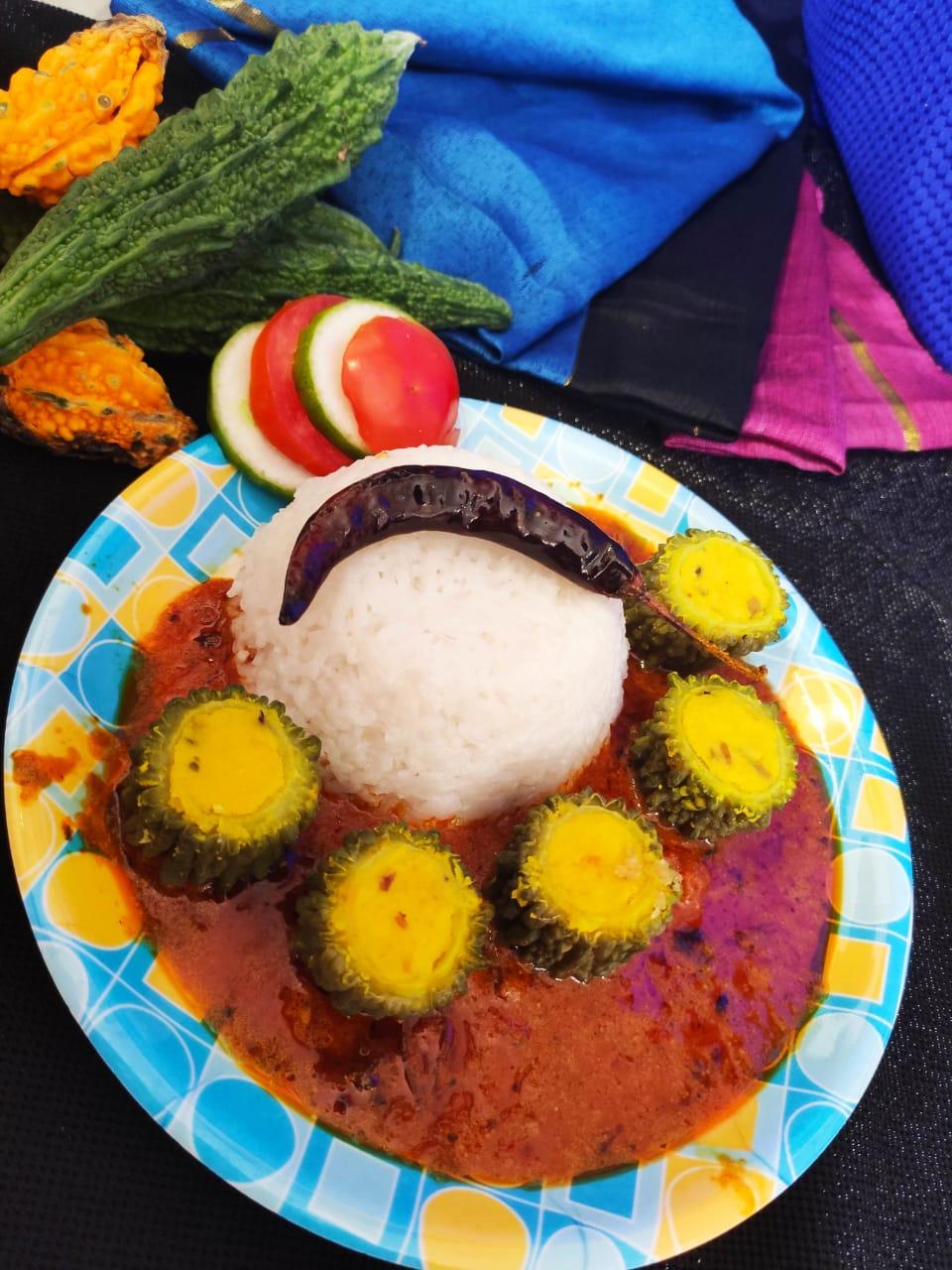 Stuffed mung dal karela curry