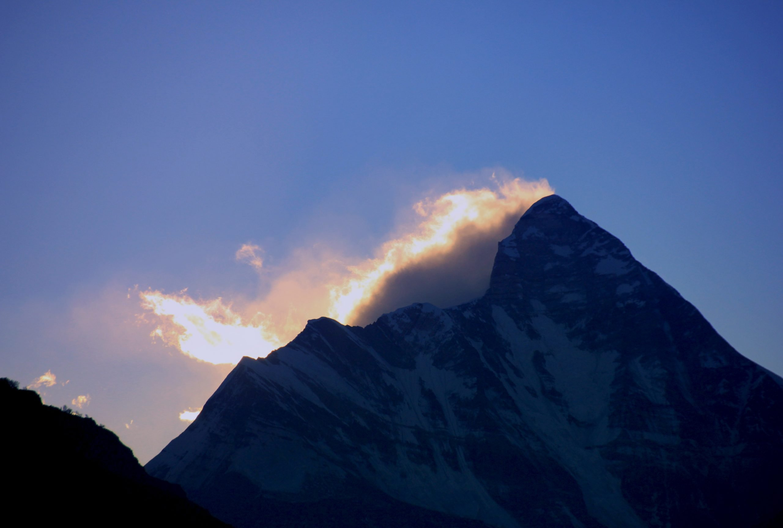 Sunrise and Nanda Devi Viewed from Foreground in Auli