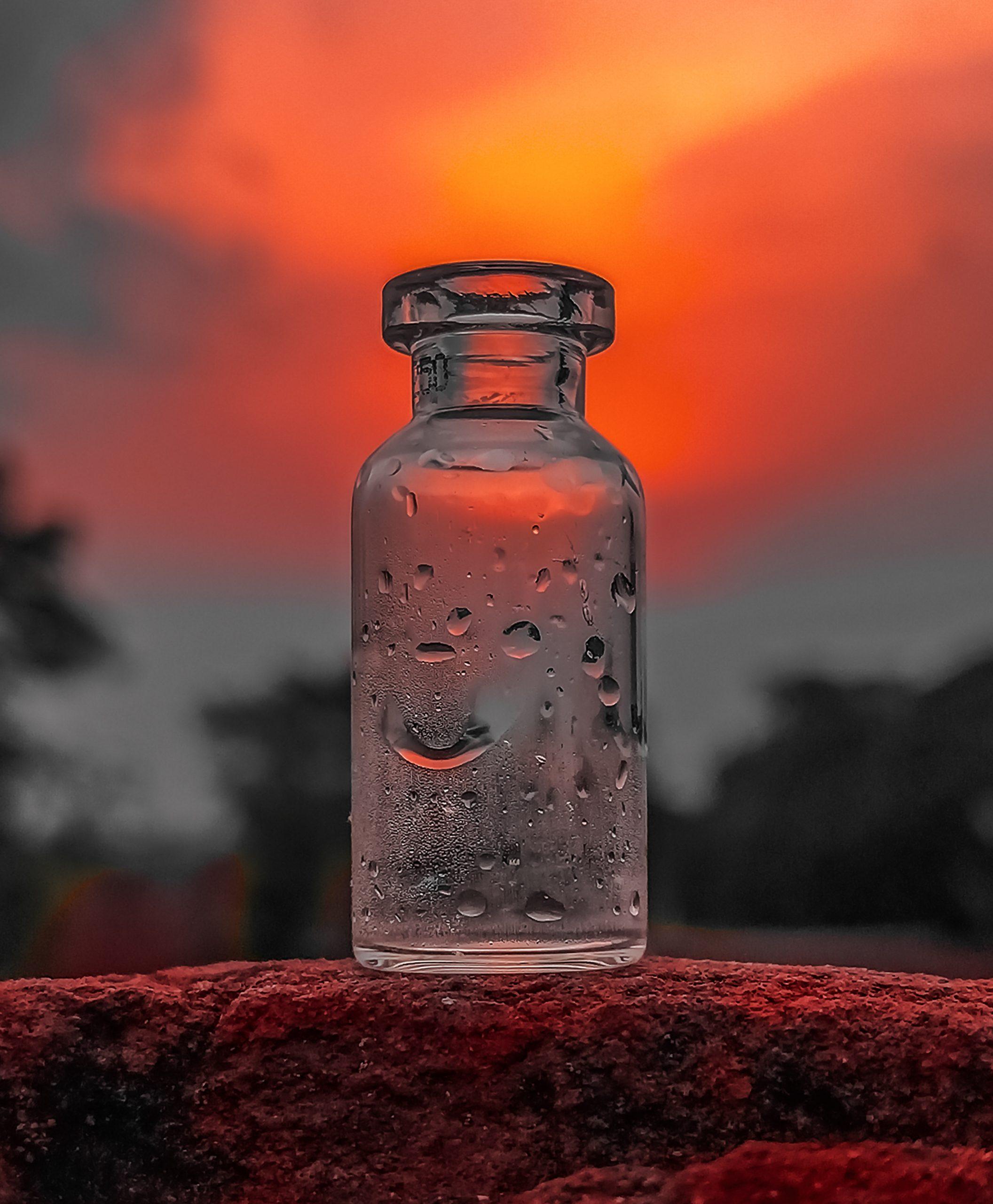 glass bottle against sunlight