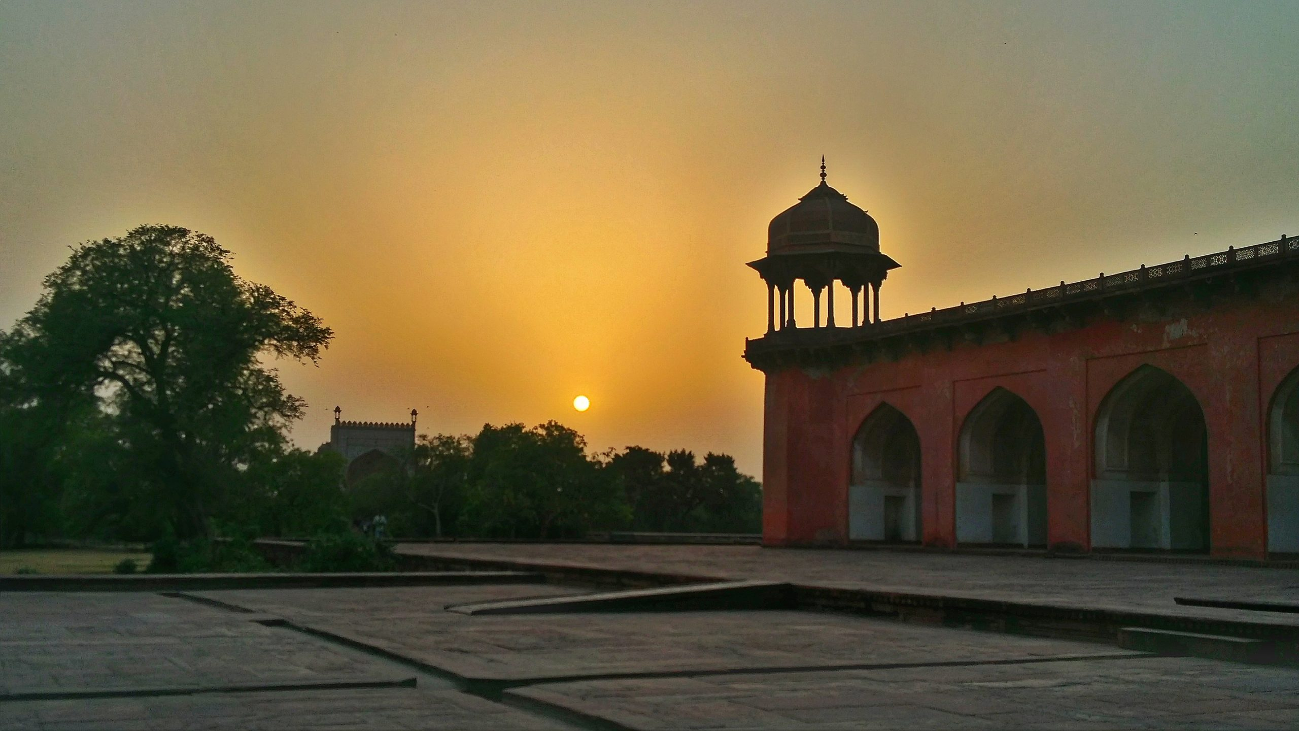The Great Akbar's tomb in evening.