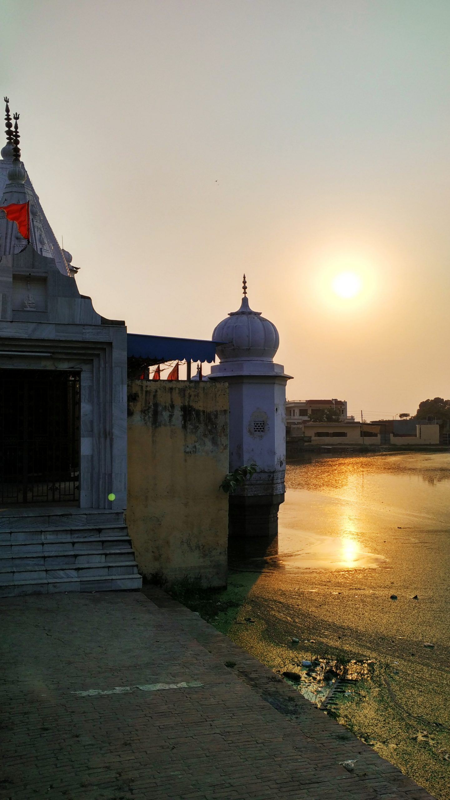 Sunset behind temple