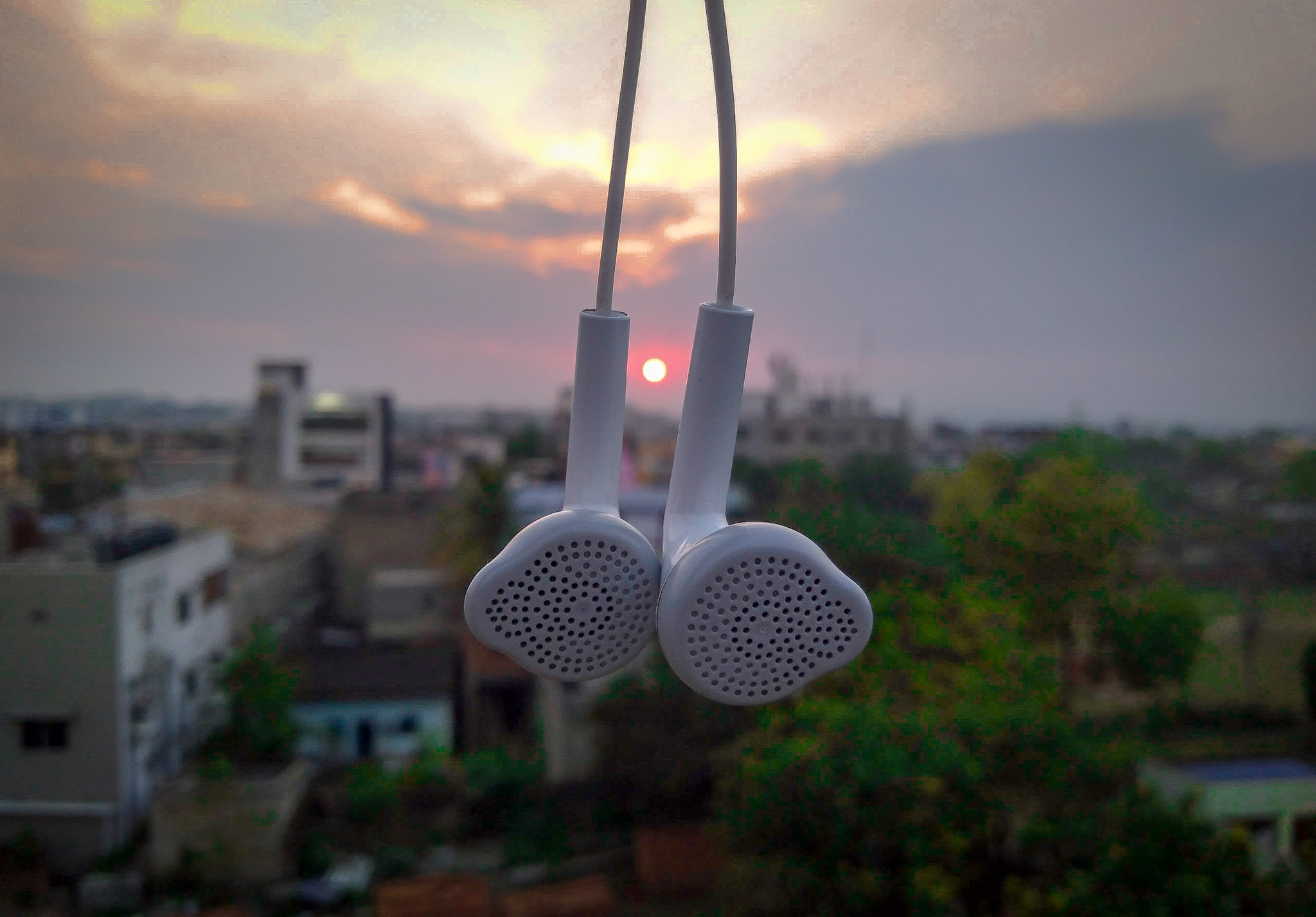 earphones And Sunset