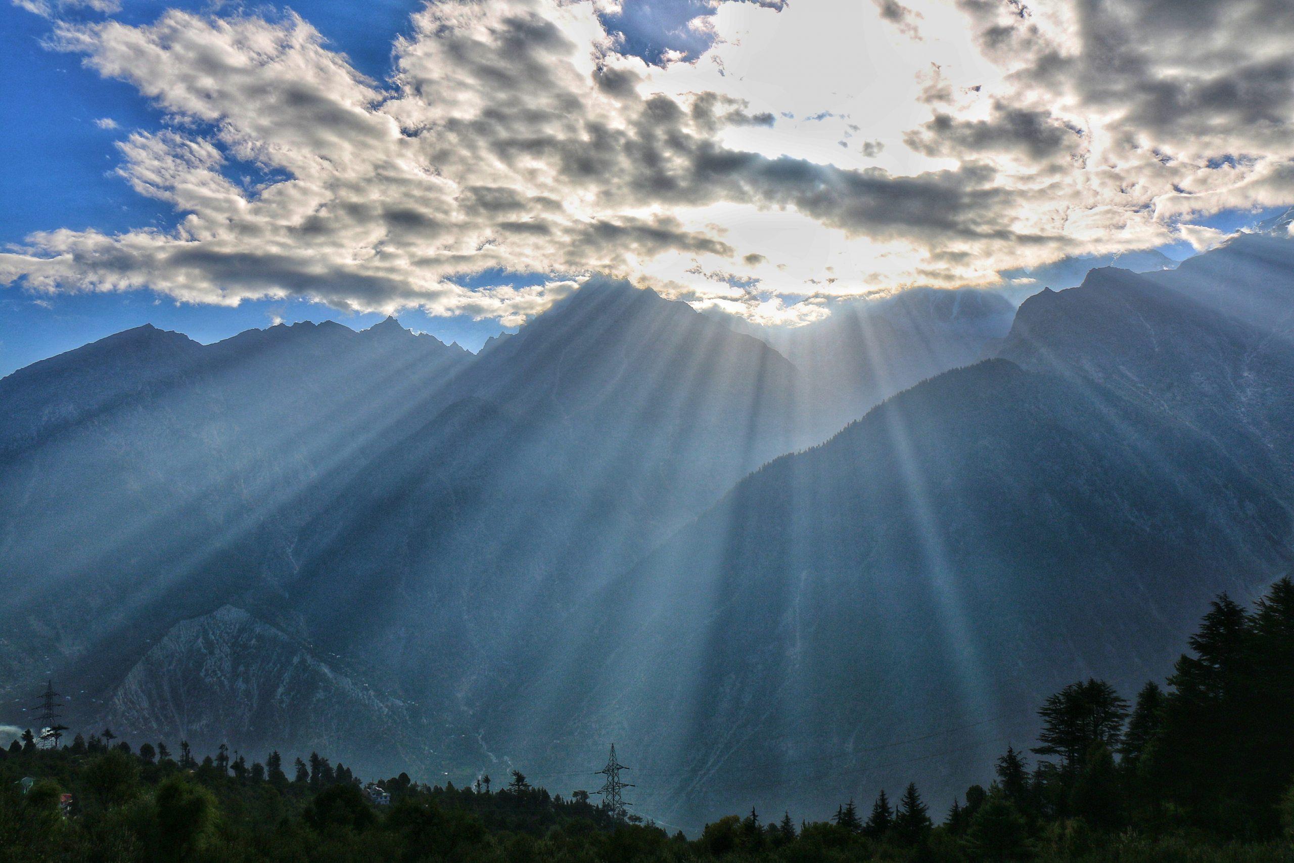 Sunshine breaking through clouds