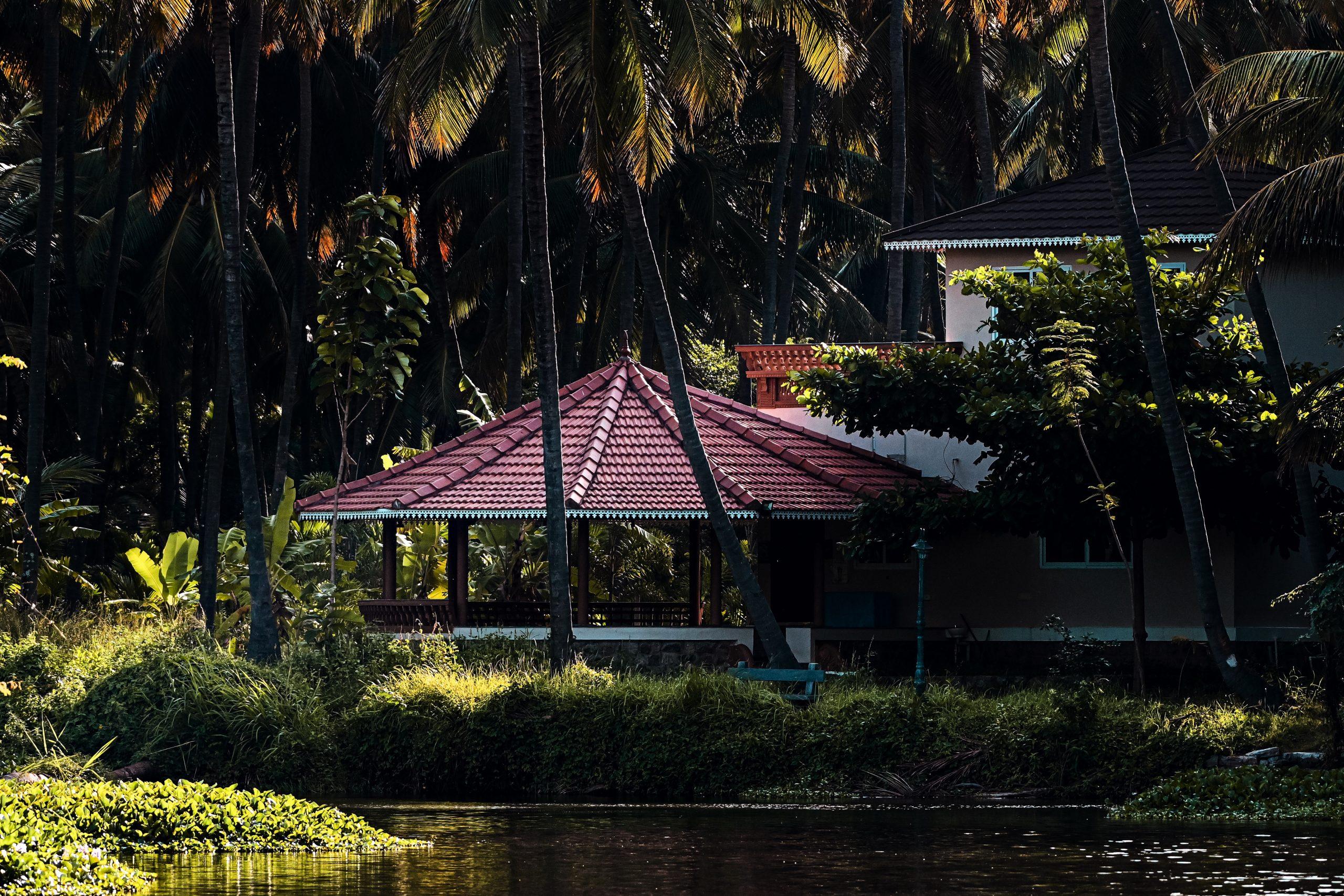 A farmhouse on the lakeside