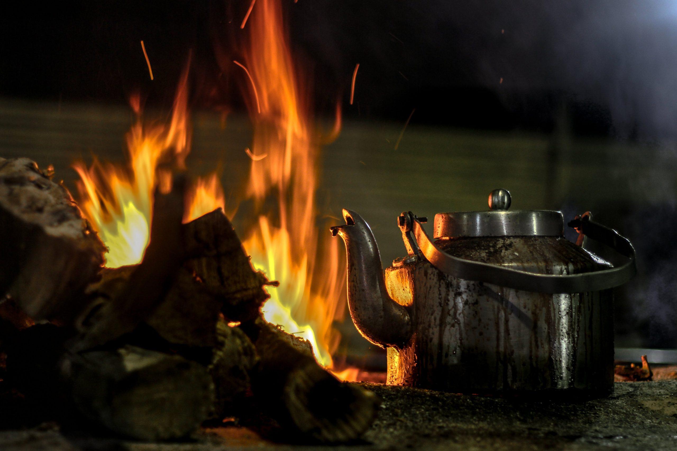Teapot near flame