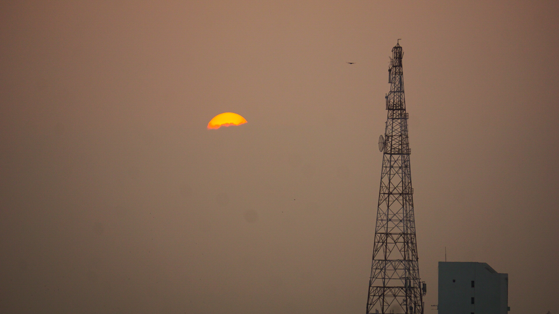Telecommunication tower with sunset sky