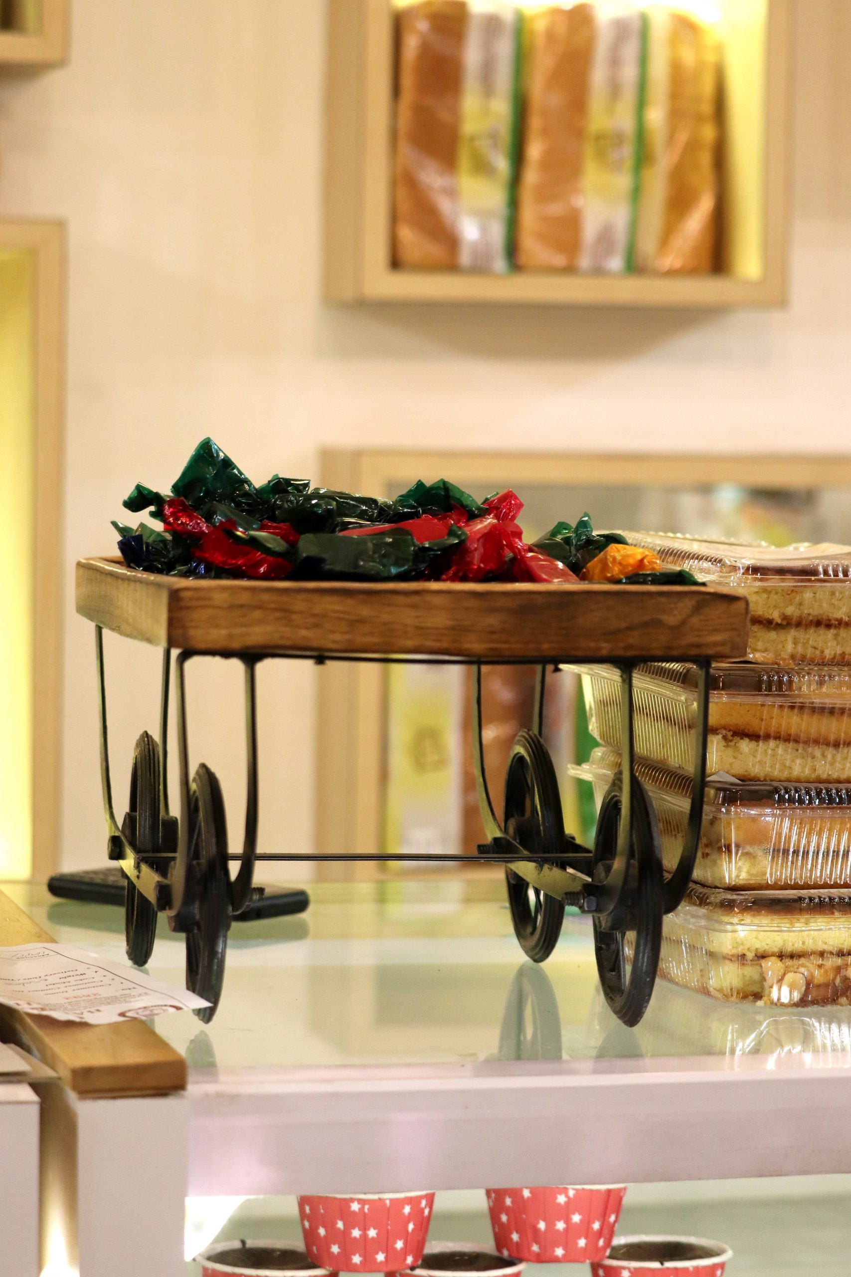 The chocolate room and the candy cart