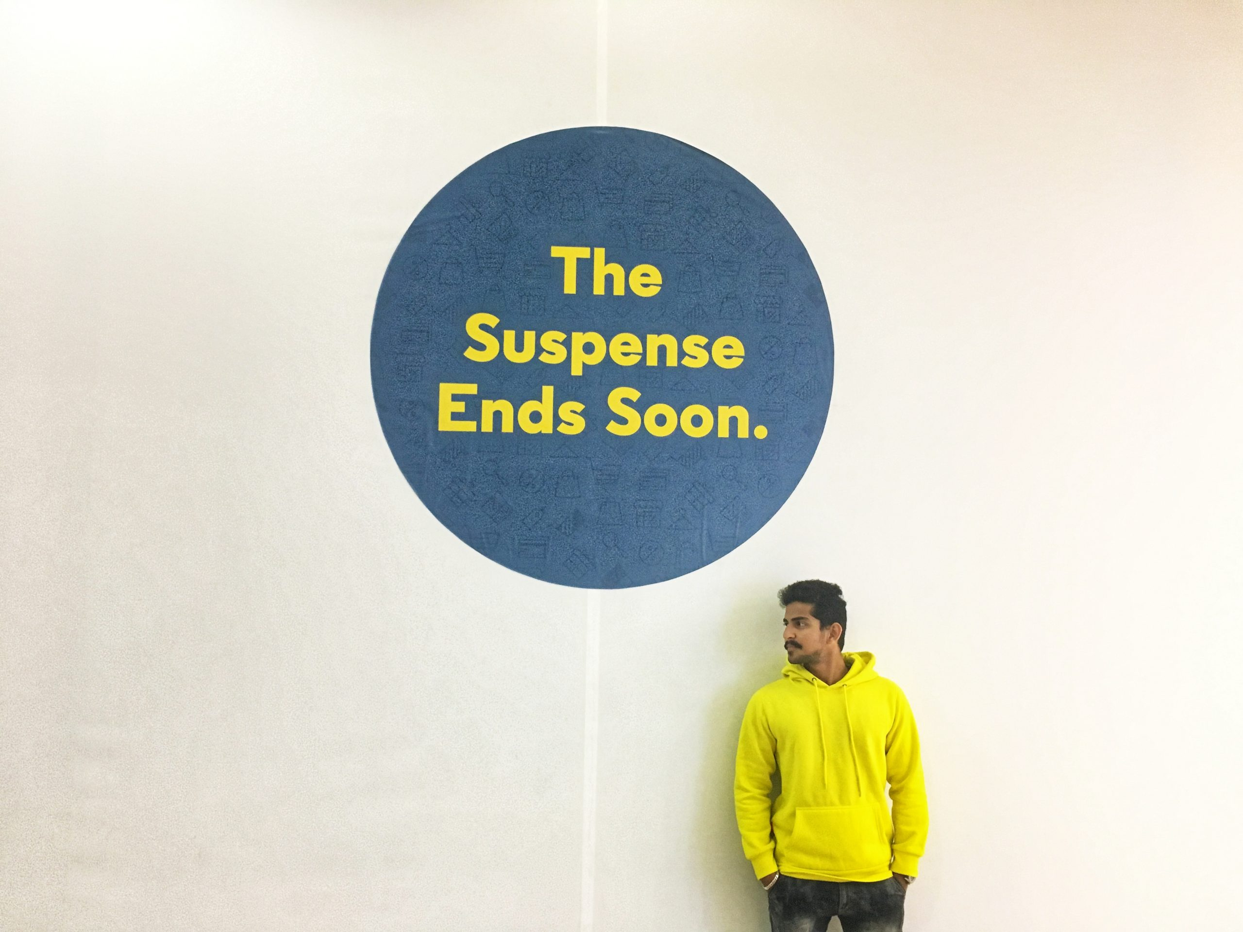 The suspense ends soon concept
