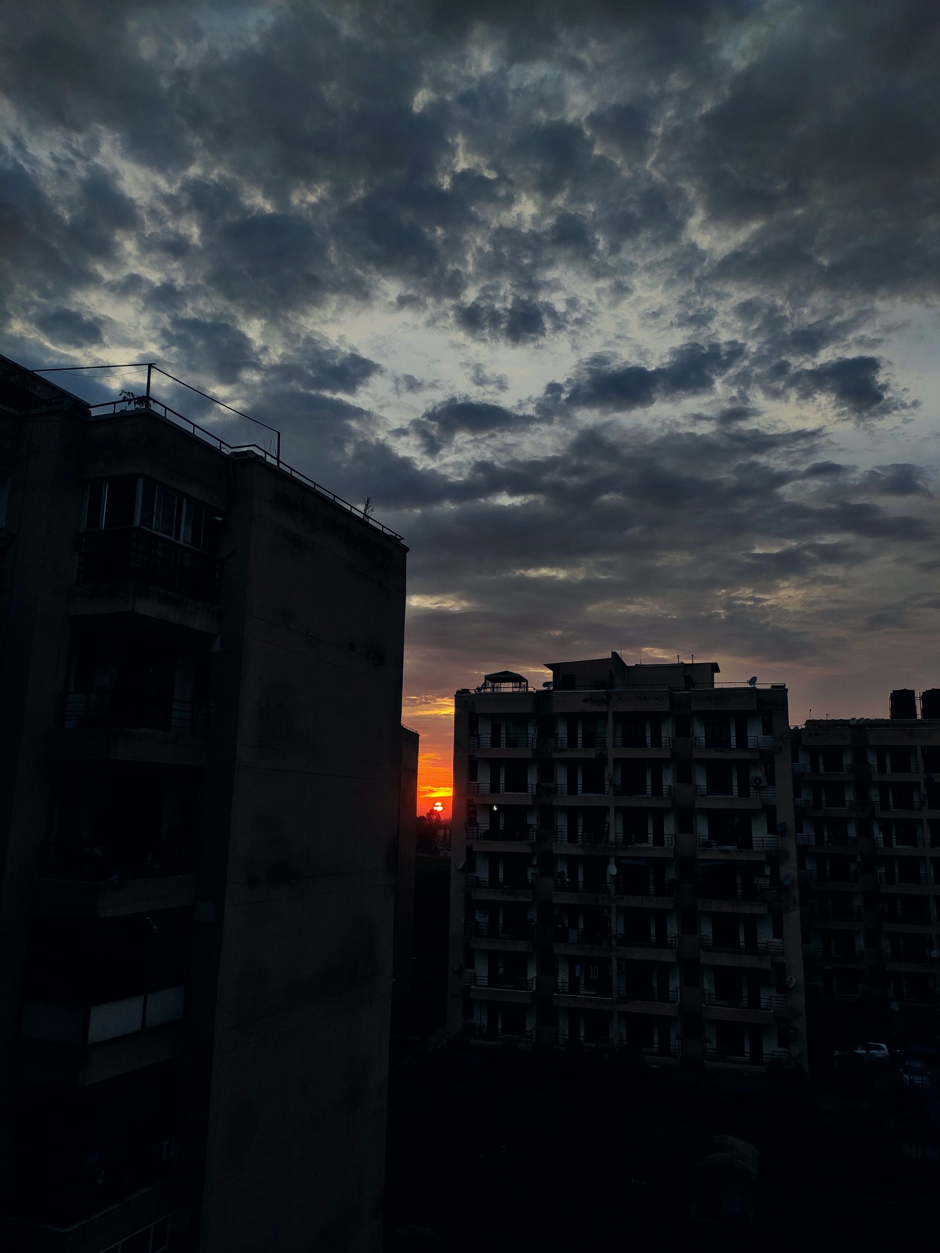 Tower Block and a Sunset Scenery