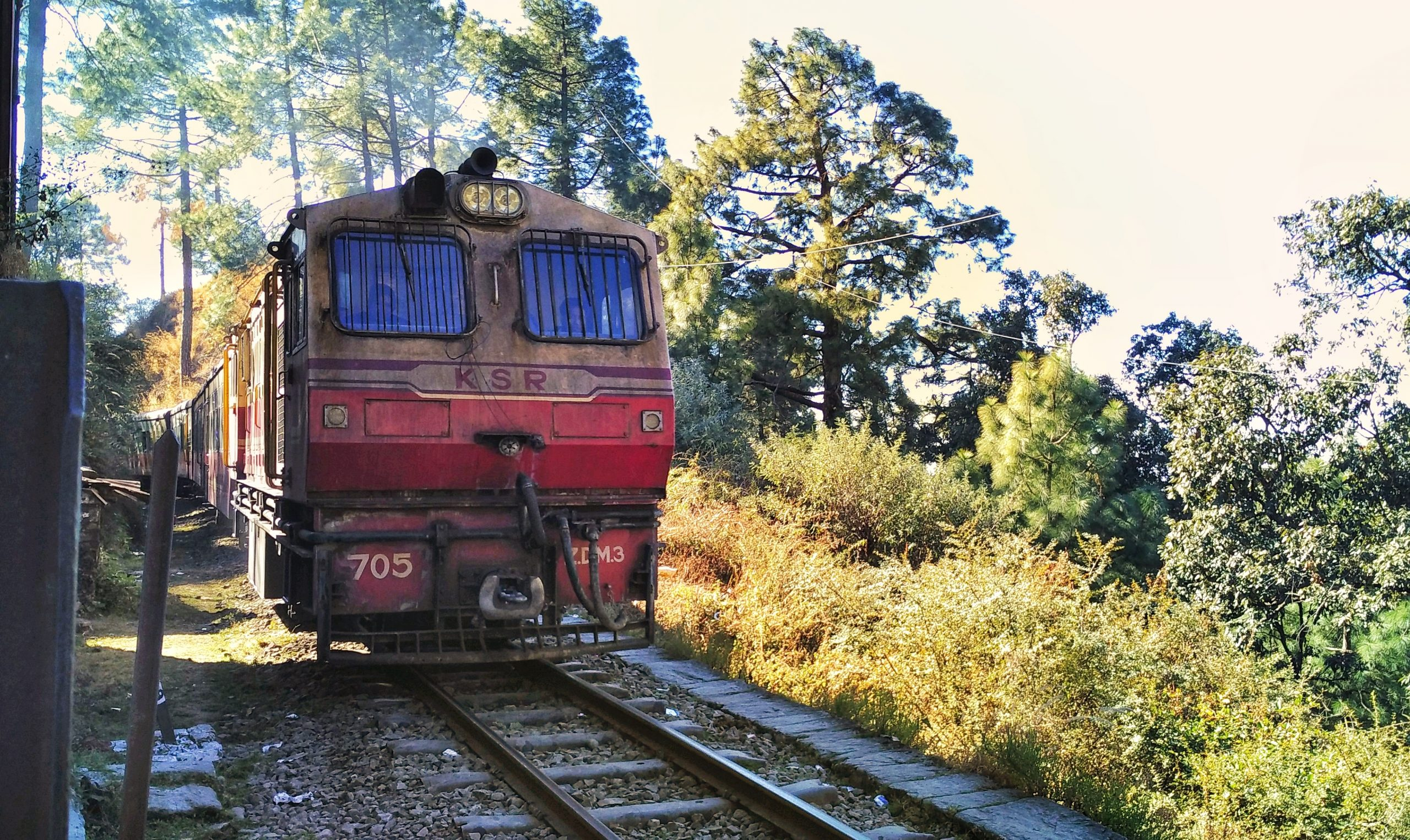 Train on the Railway Front view