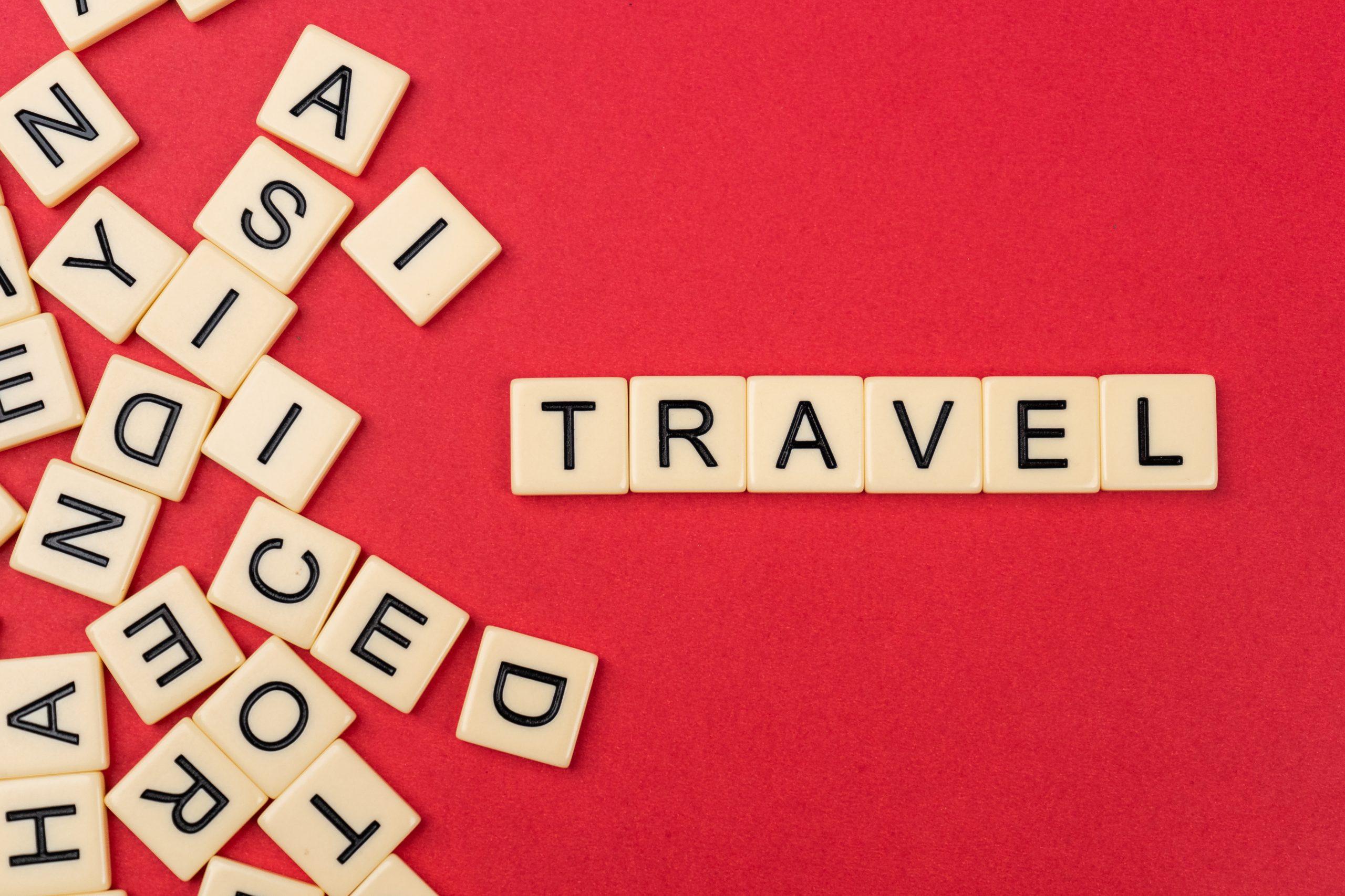 Travel written with scrabble