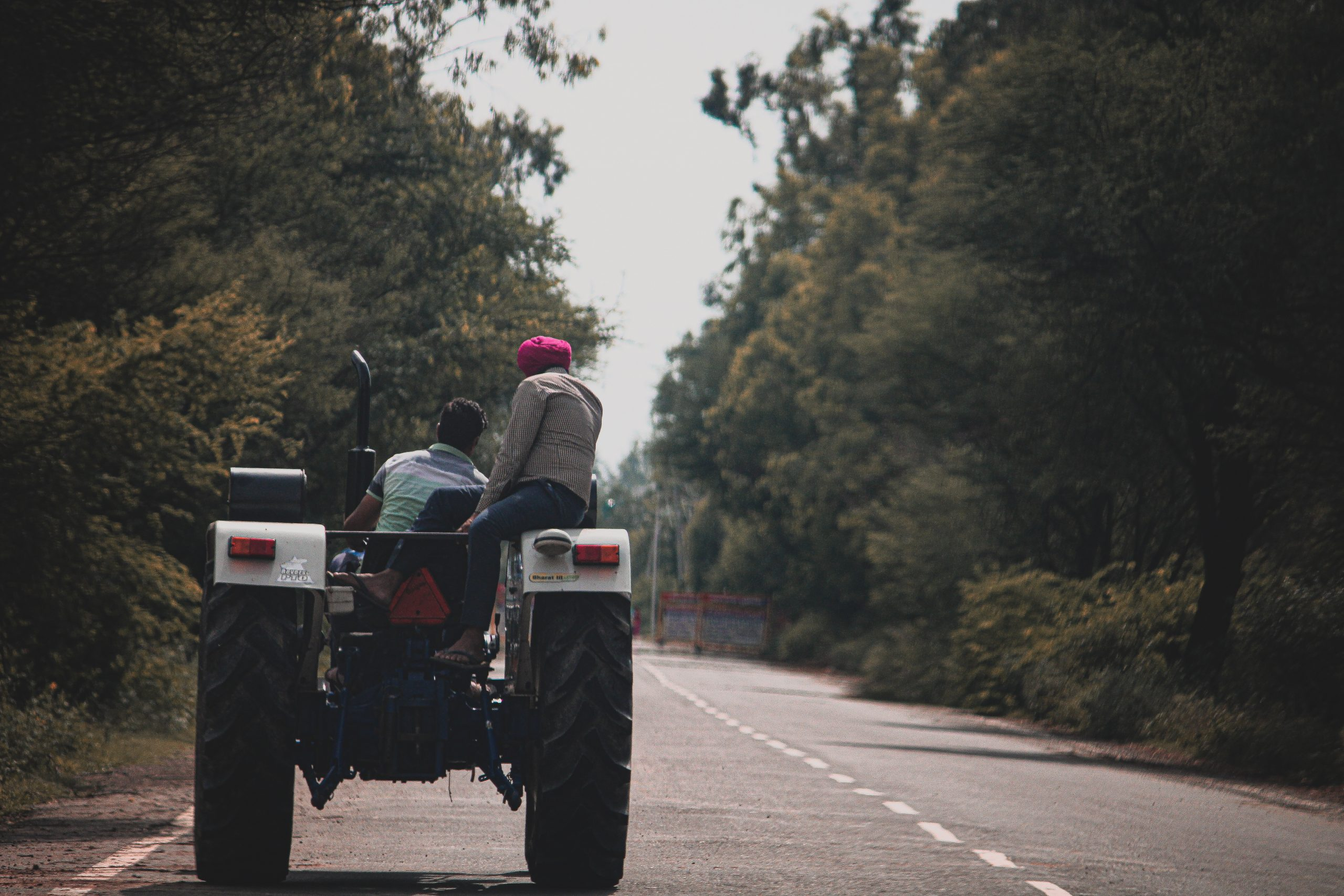 A tractor on a road