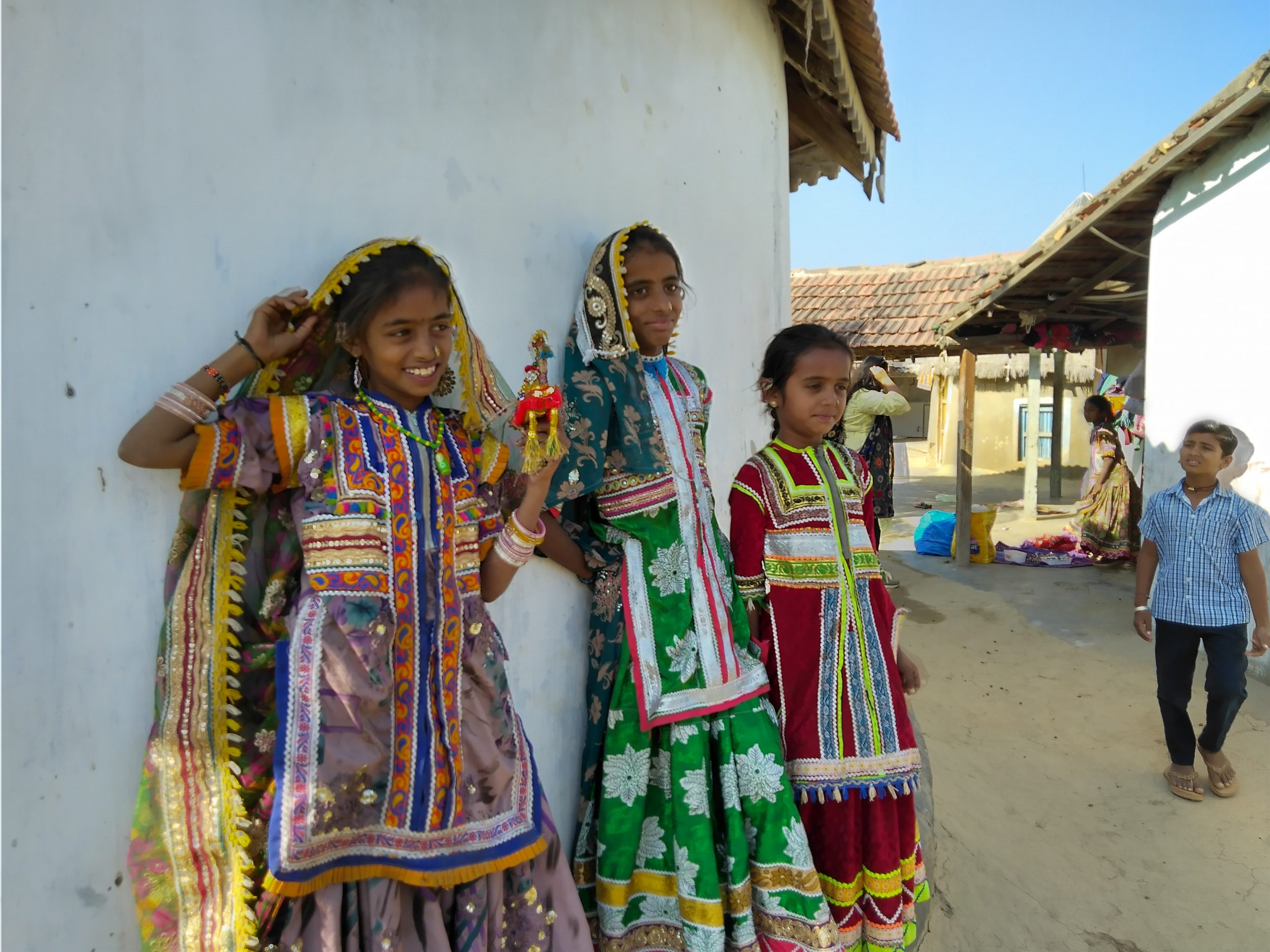Tribal Girls Leaning on the Wall