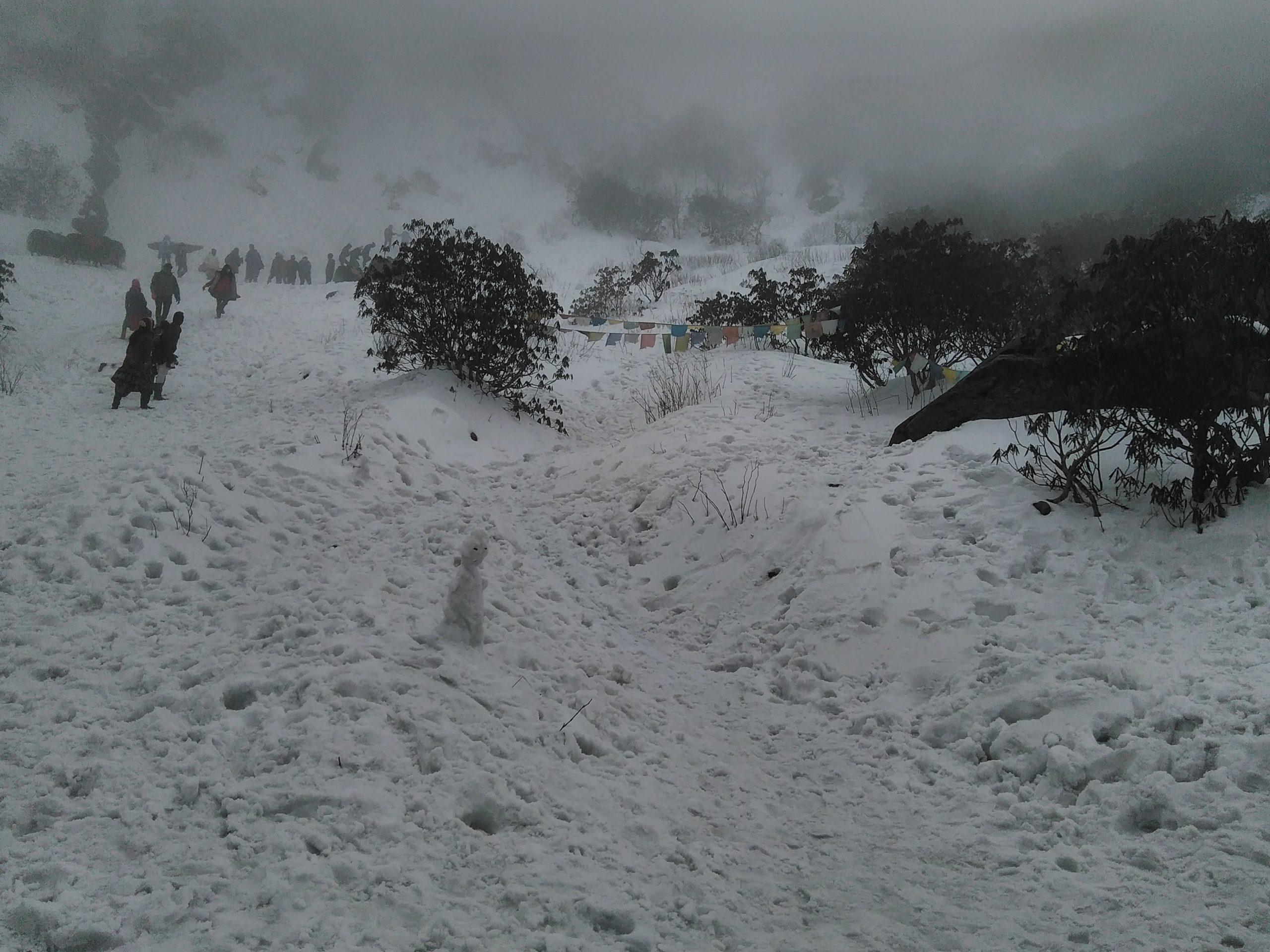 Tsomgo Lake side with snow