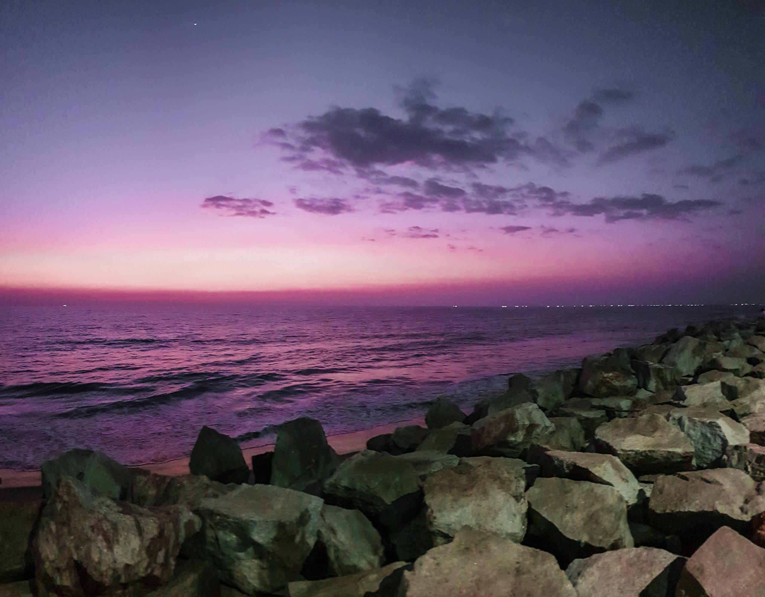 Sunset at rock beach