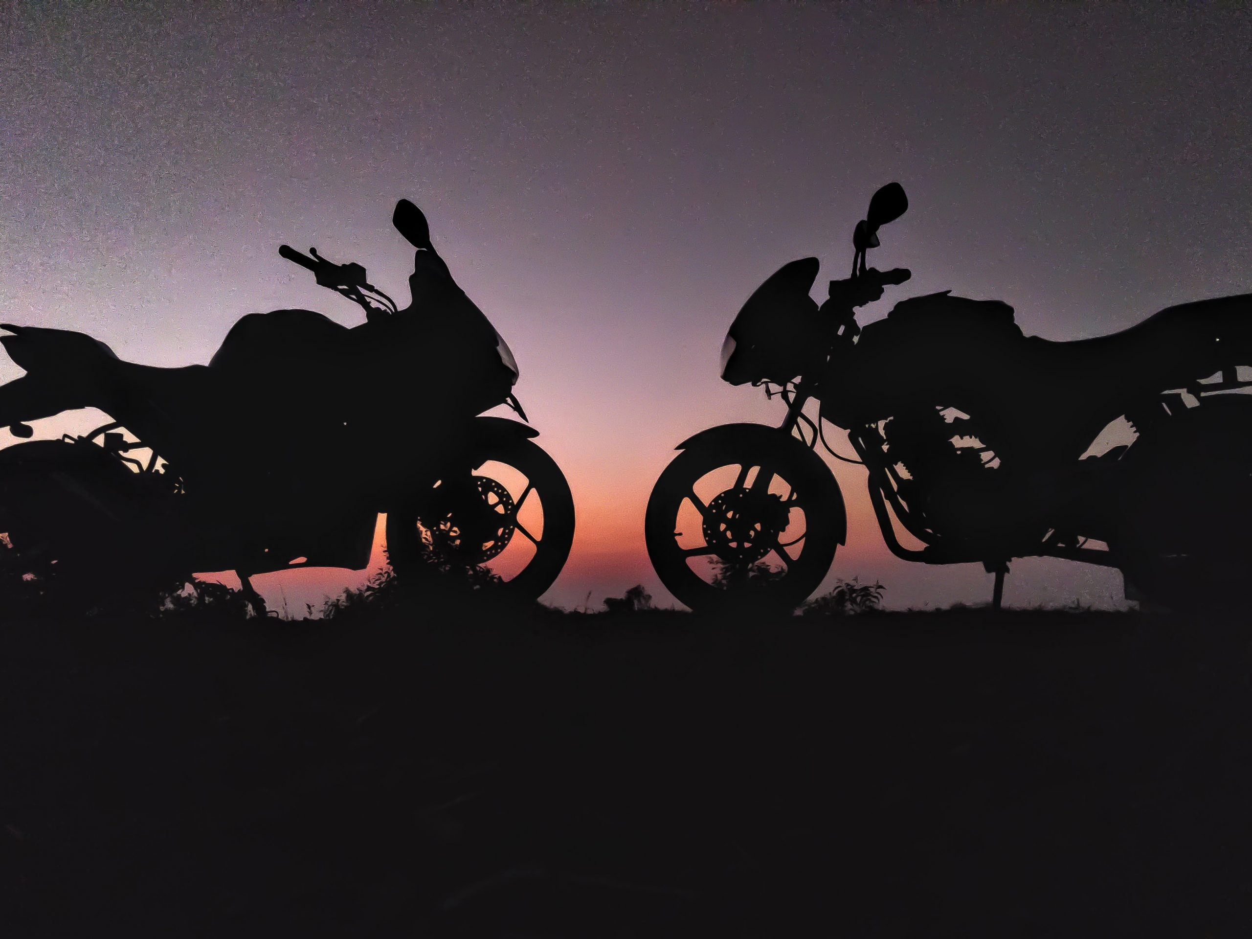 Two Motorcycle in Evening Scenery
