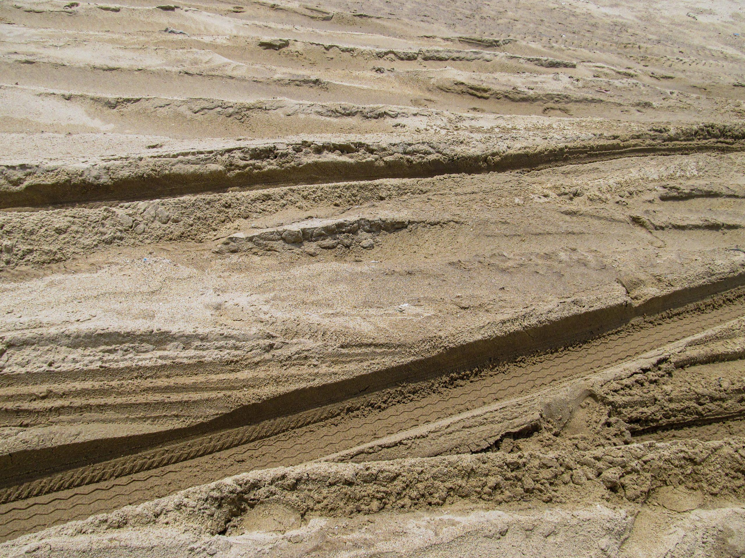 Beach Sand with Tyre Marks
