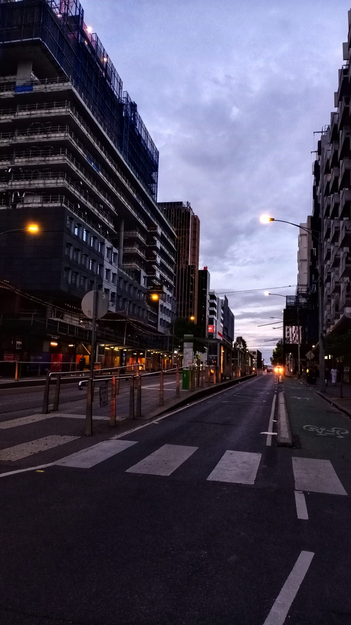 dusk in the city