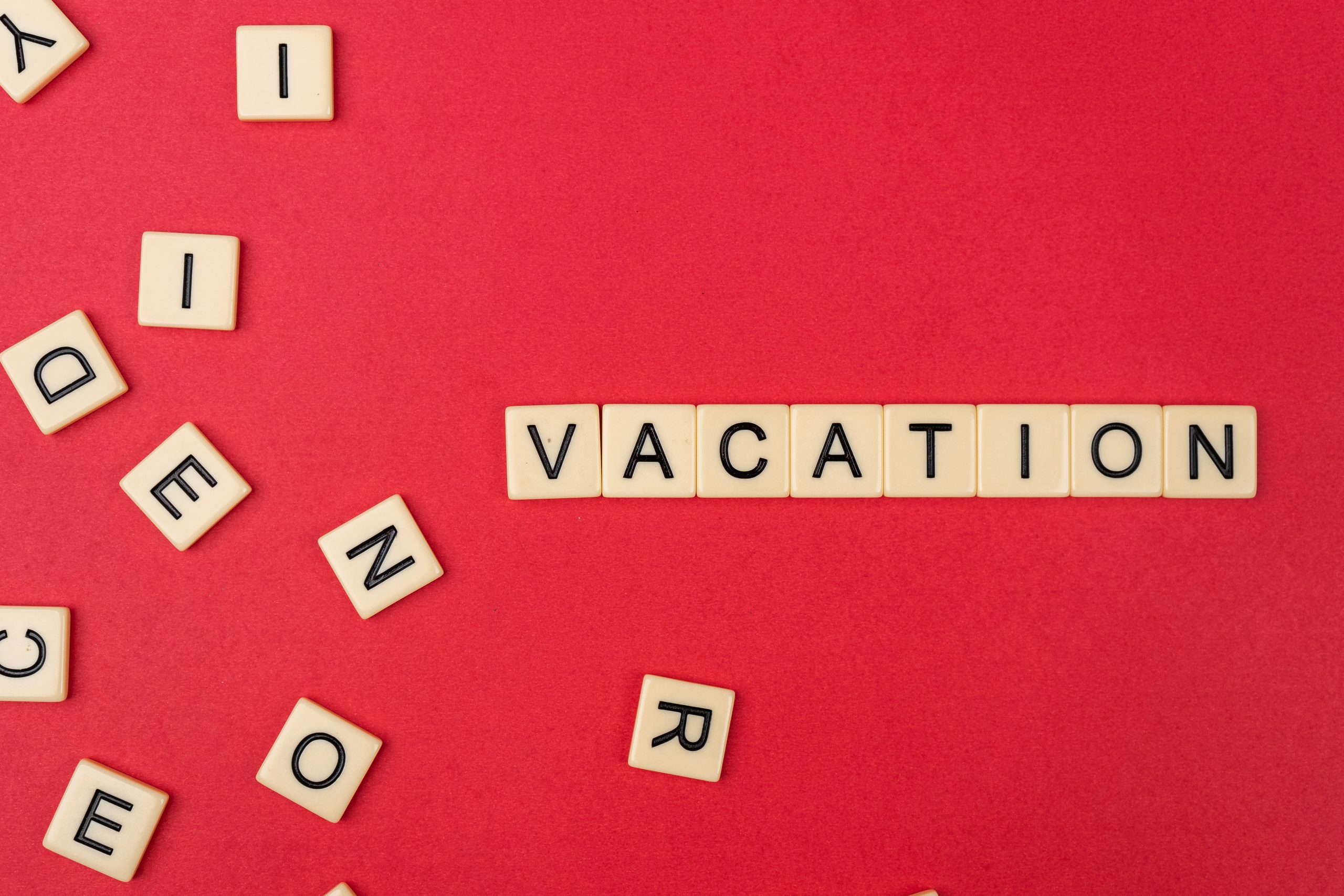 Vacation written with scrabble