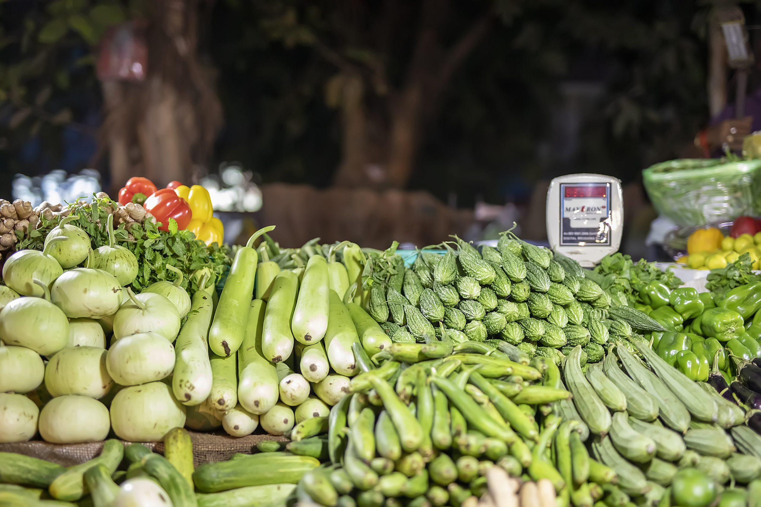 Varied Fresh Vegetables Display