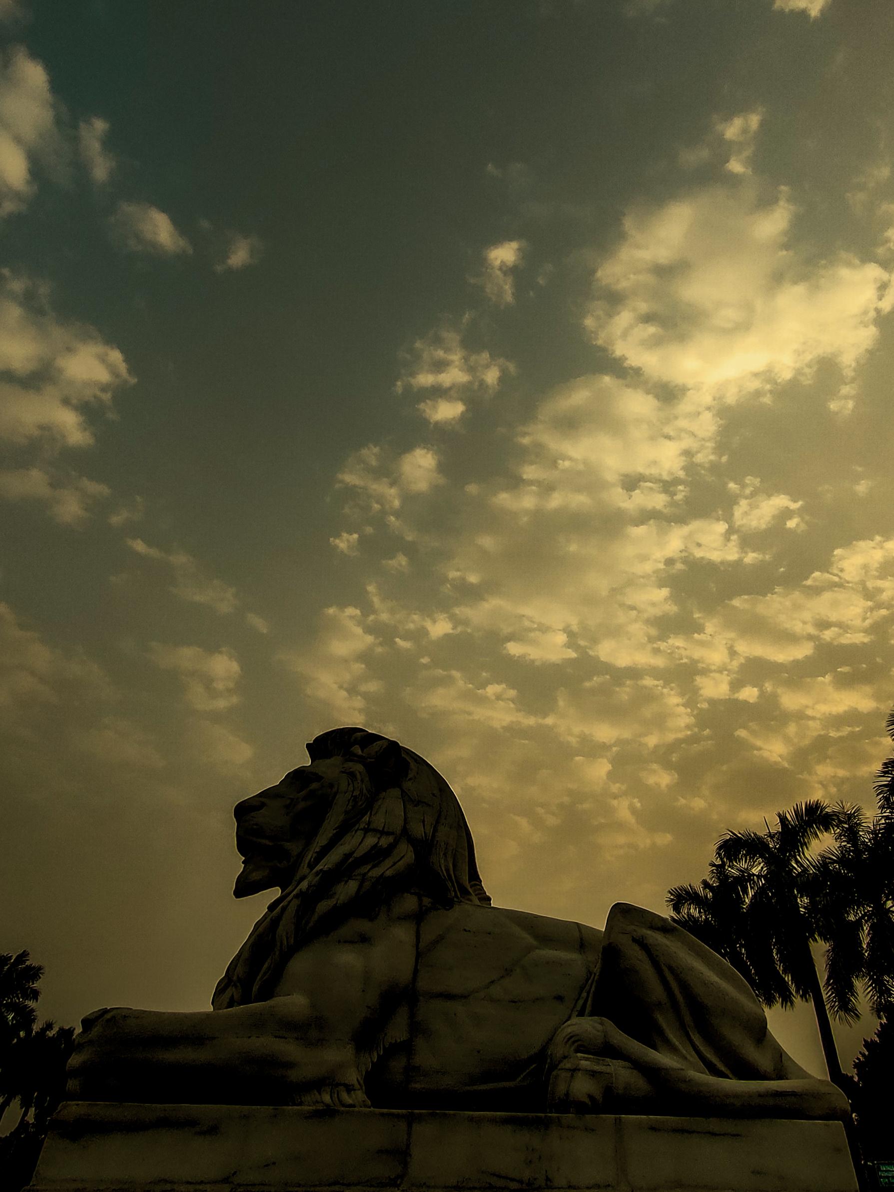 Monochromatic Lion Statue