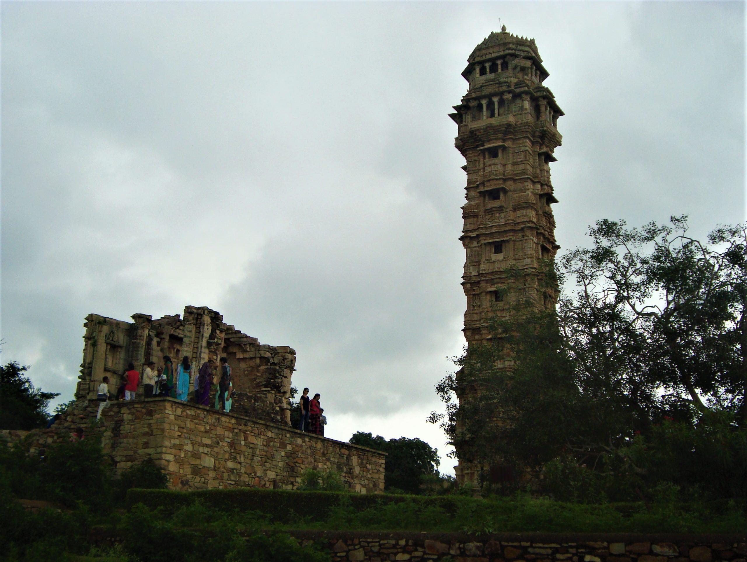Tourists at Vijay Stambha, Chittogarh Fort, Rajasthan.