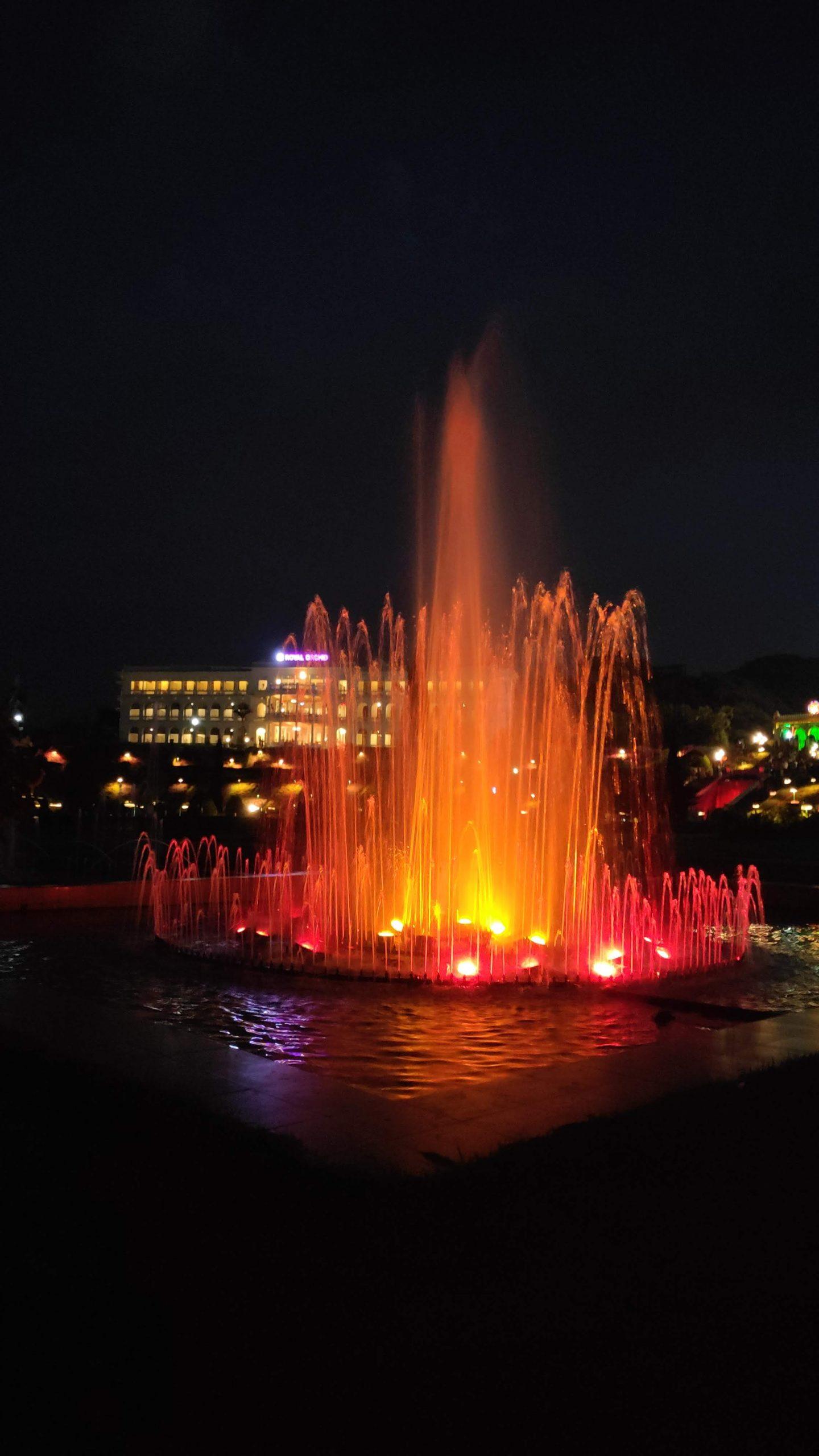 colorful fountain in a garden
