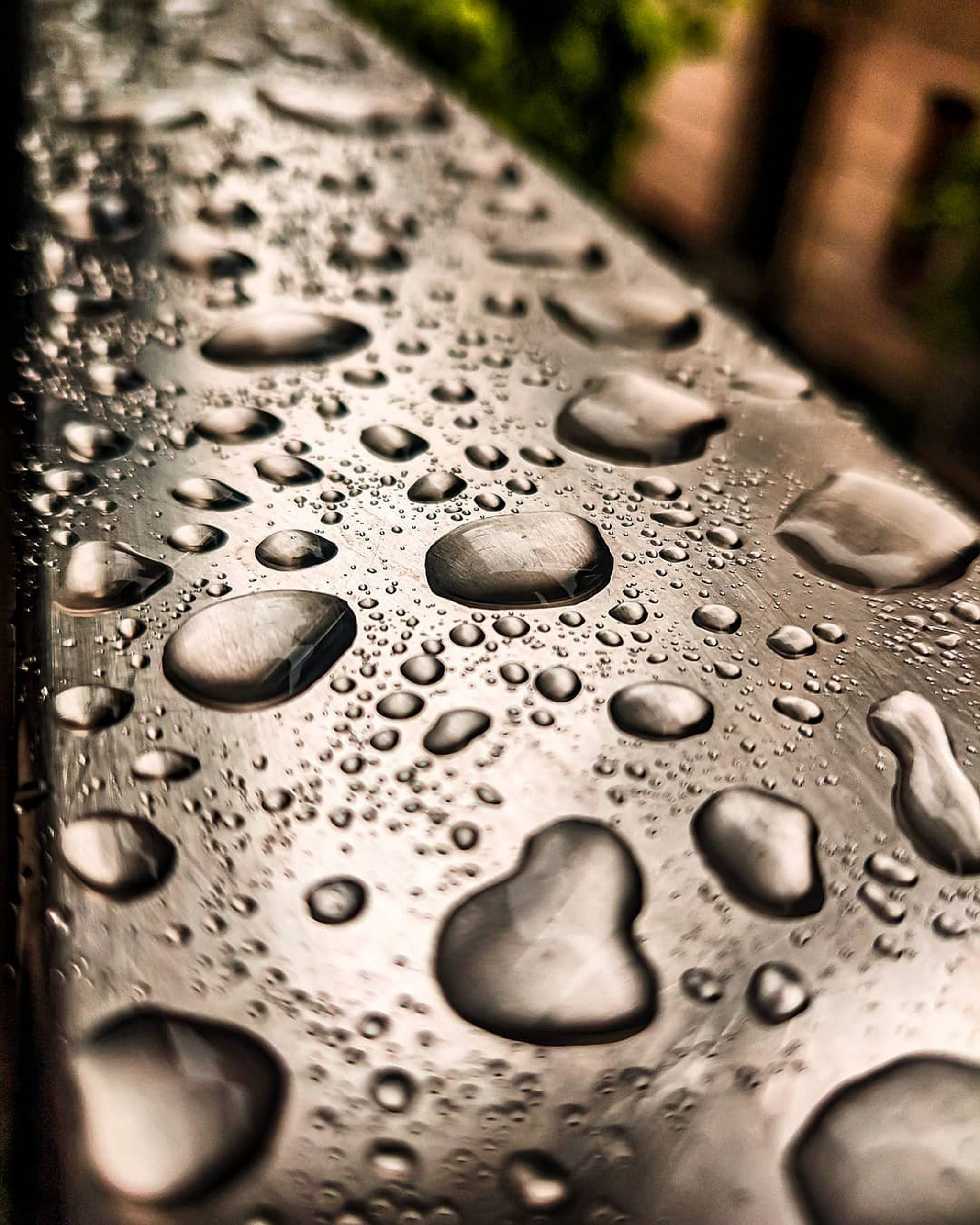 Water droplets in the Steel Grills on Focus