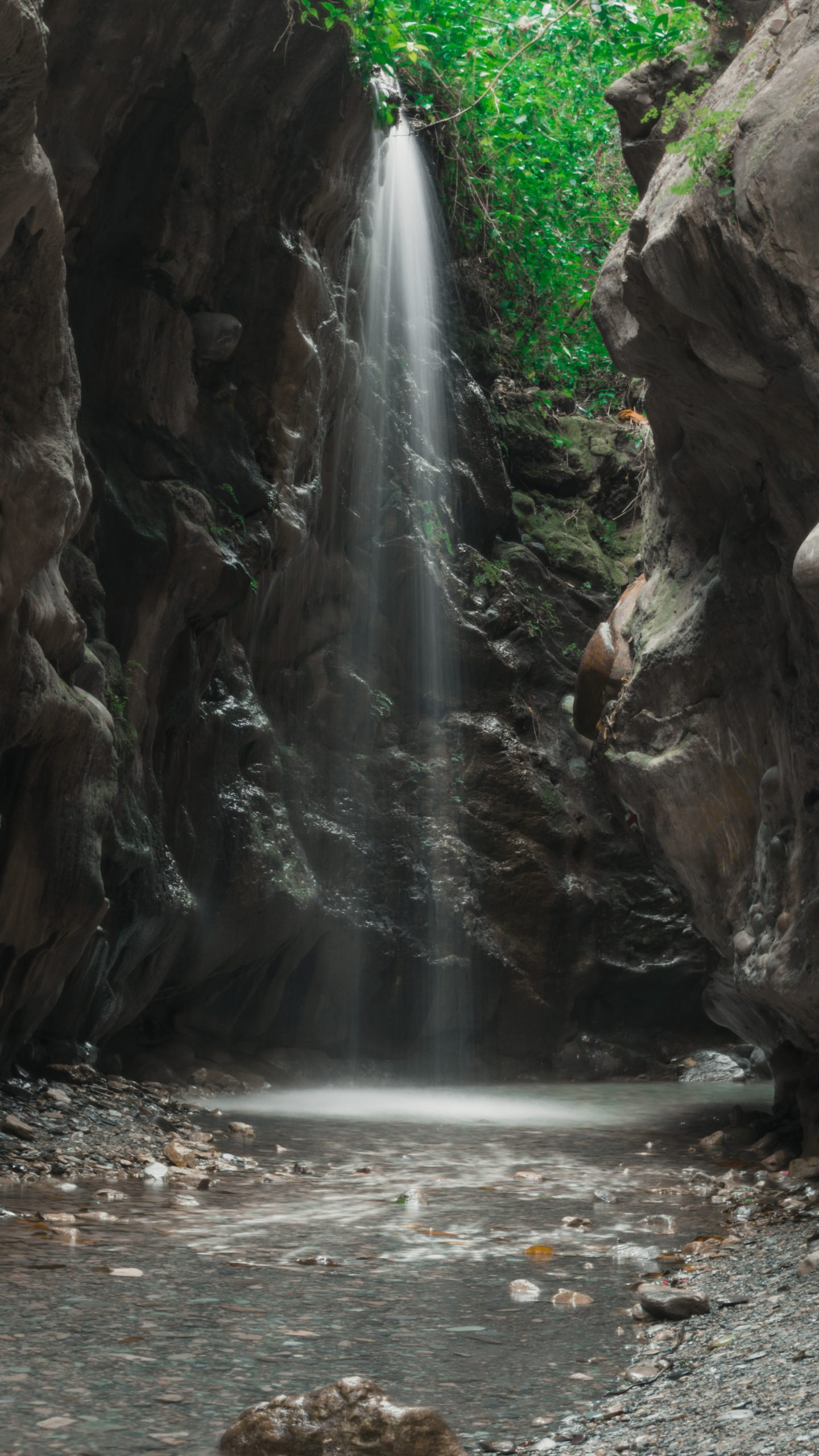 Waterfall on Narrow Rocks